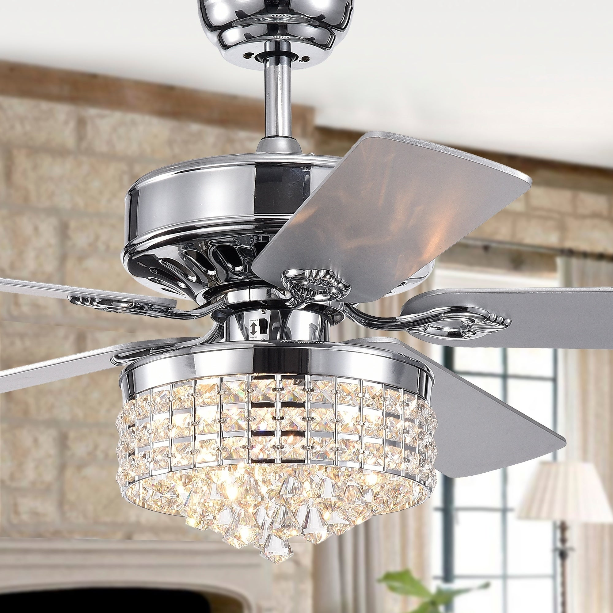 Letta 52-Inch 5-Blade Chrome Lighted Ceiling Fan Crystal Shade Optional  Remote Control (incl 2 Blade Colors)