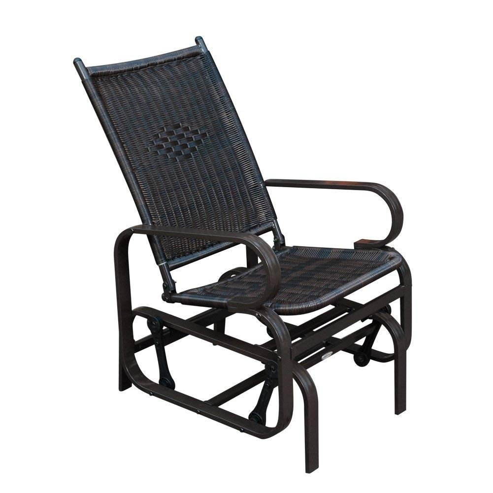 Sunlife porch patio glider rocking chairpe rattan wicker steel frame