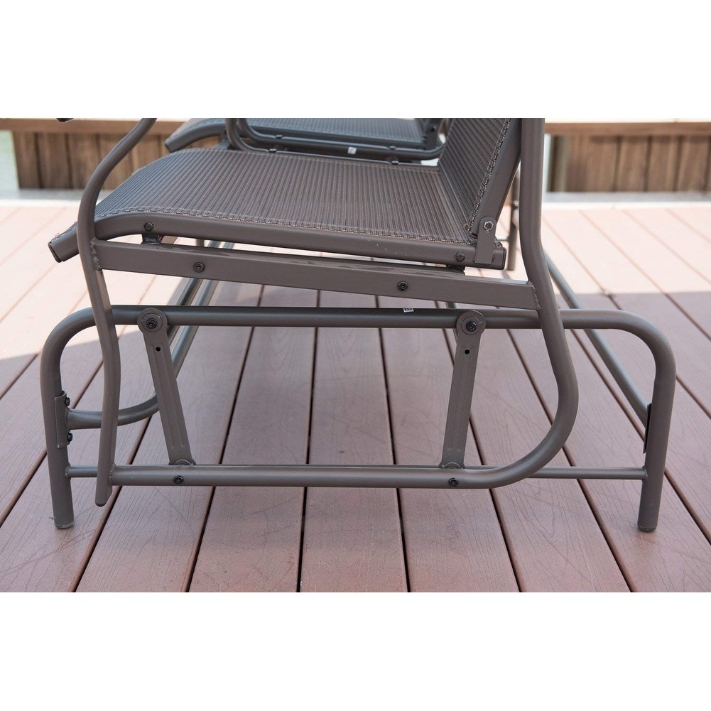 Outstanding Patiopost Outdoor 2 Person Patio Mesh Fabric Loveseat Glider Short Links Chair Design For Home Short Linksinfo