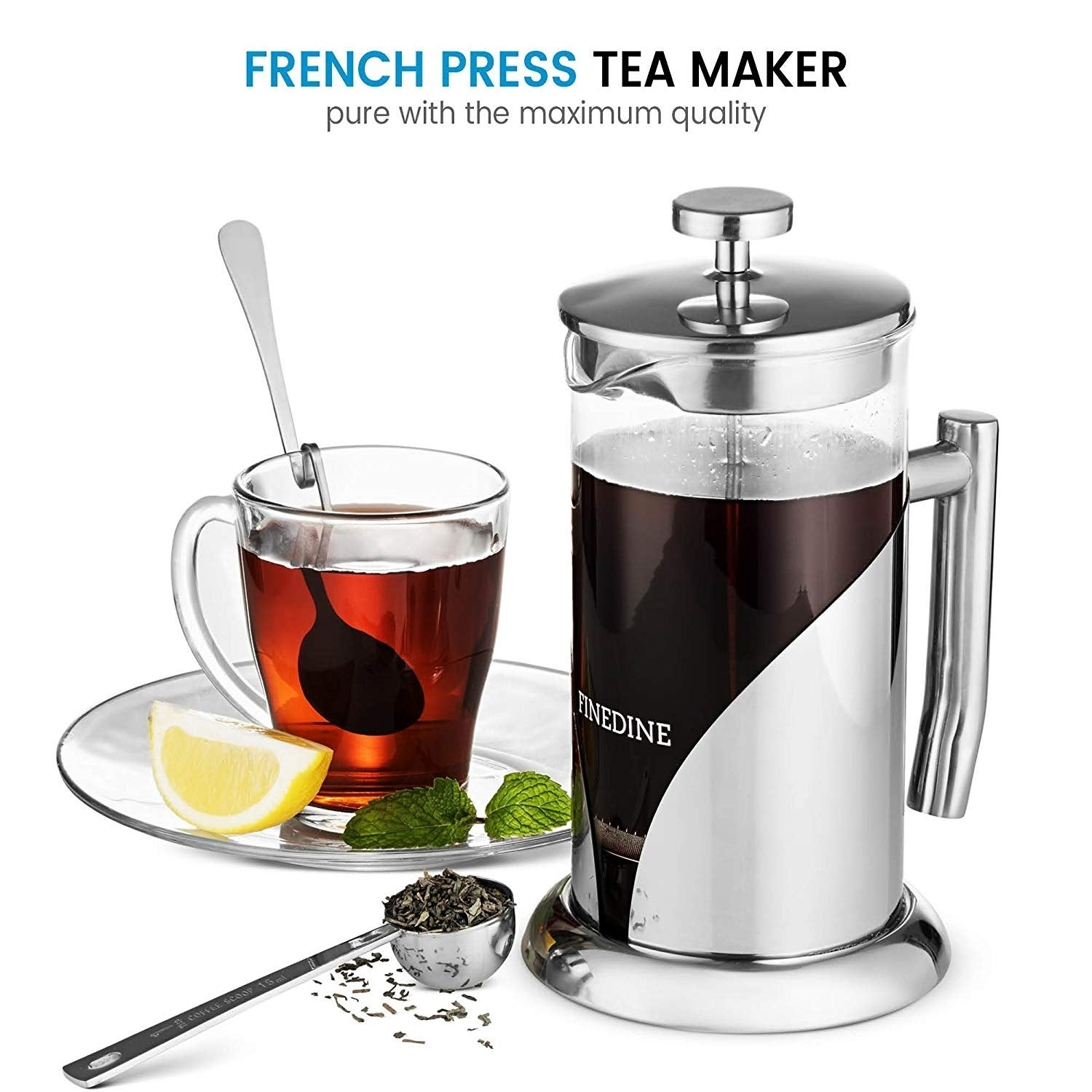 French Press Coffee Maker Stainless Steel With 34 Ounce Borosilicate Gl Heat Resistant Beaker Triple Filtered Free Shipping On Orders Over 45