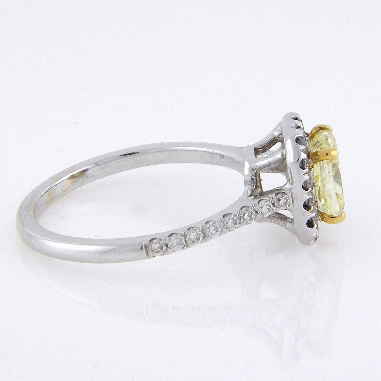 Lezari Co 1 50ct Tdw Fancy Yellow Cushion Cut Halo Diamond Engagement Ring U Pave Set Round Diamonds In Fine 18k White Gold