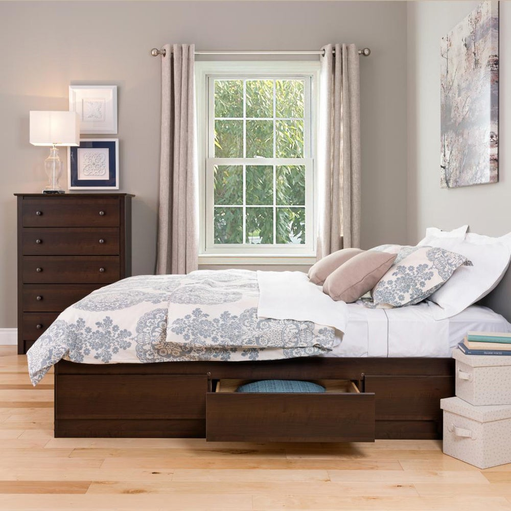 Shop espresso full mates 6 drawer platform storage bed free shipping today overstock com 2298128