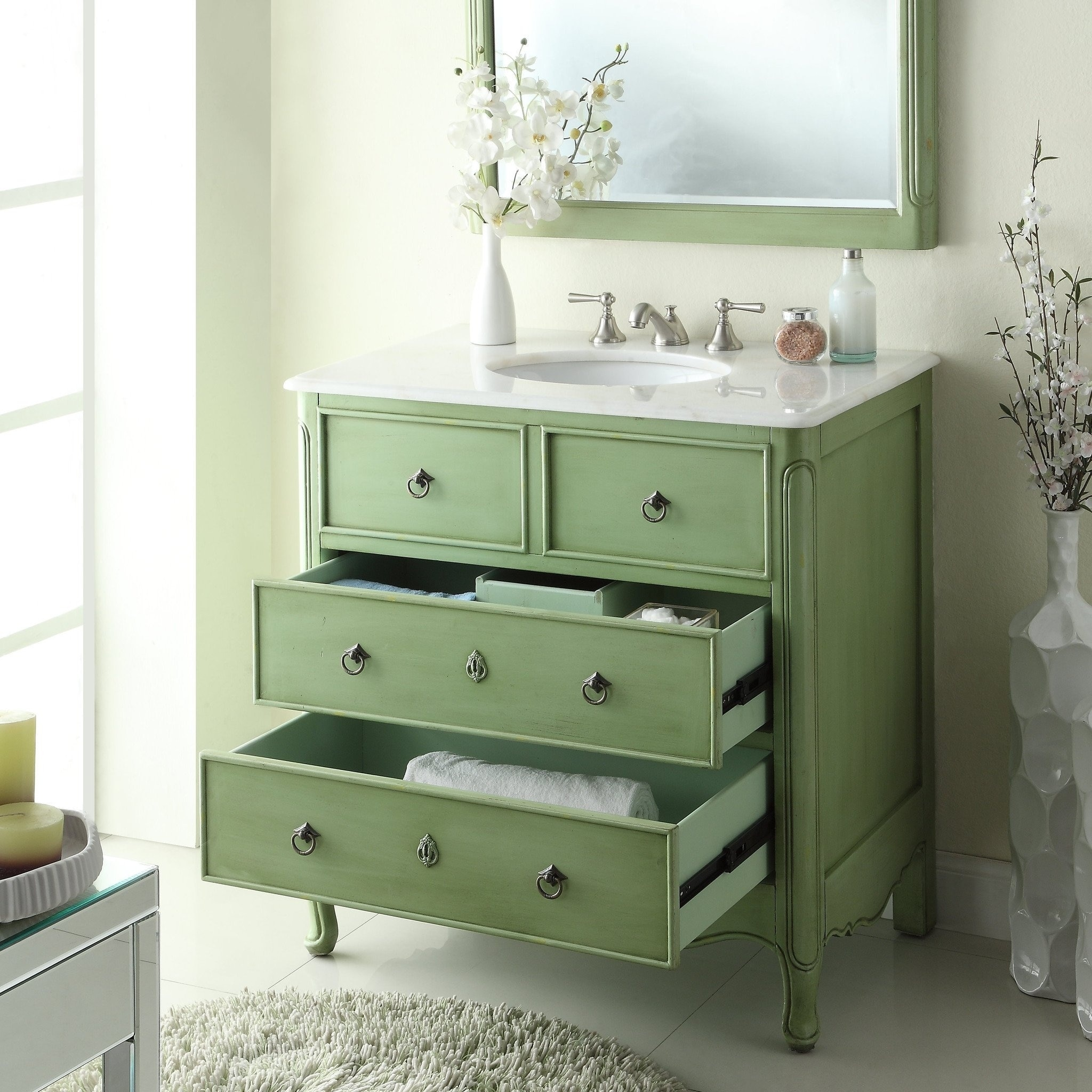 34 Benton Collection Vintage Green Daleville Bathroom Sink Vanity Free Shipping Today 22986191