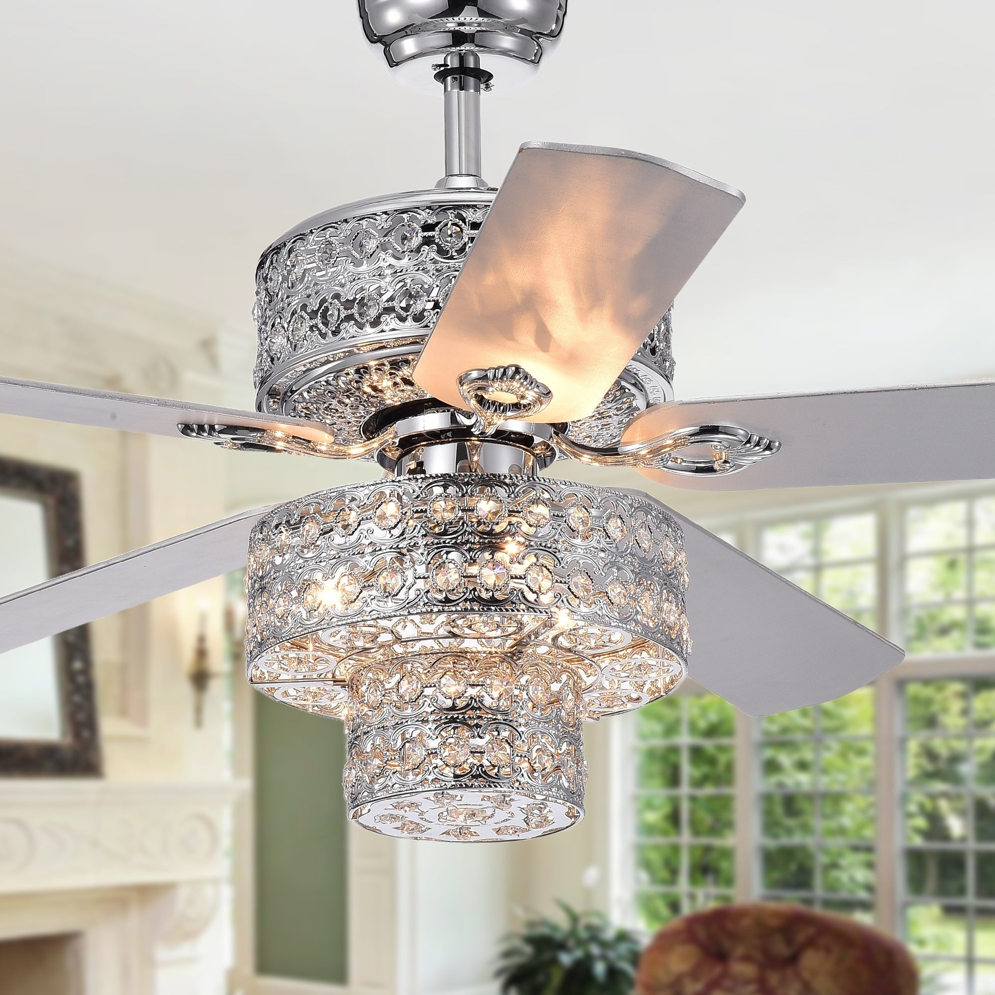 Empire Trois 5 Blade Silver Chandelier Ceiling Fan 52 Inch With Remote Control On Free Shipping Today 22988065