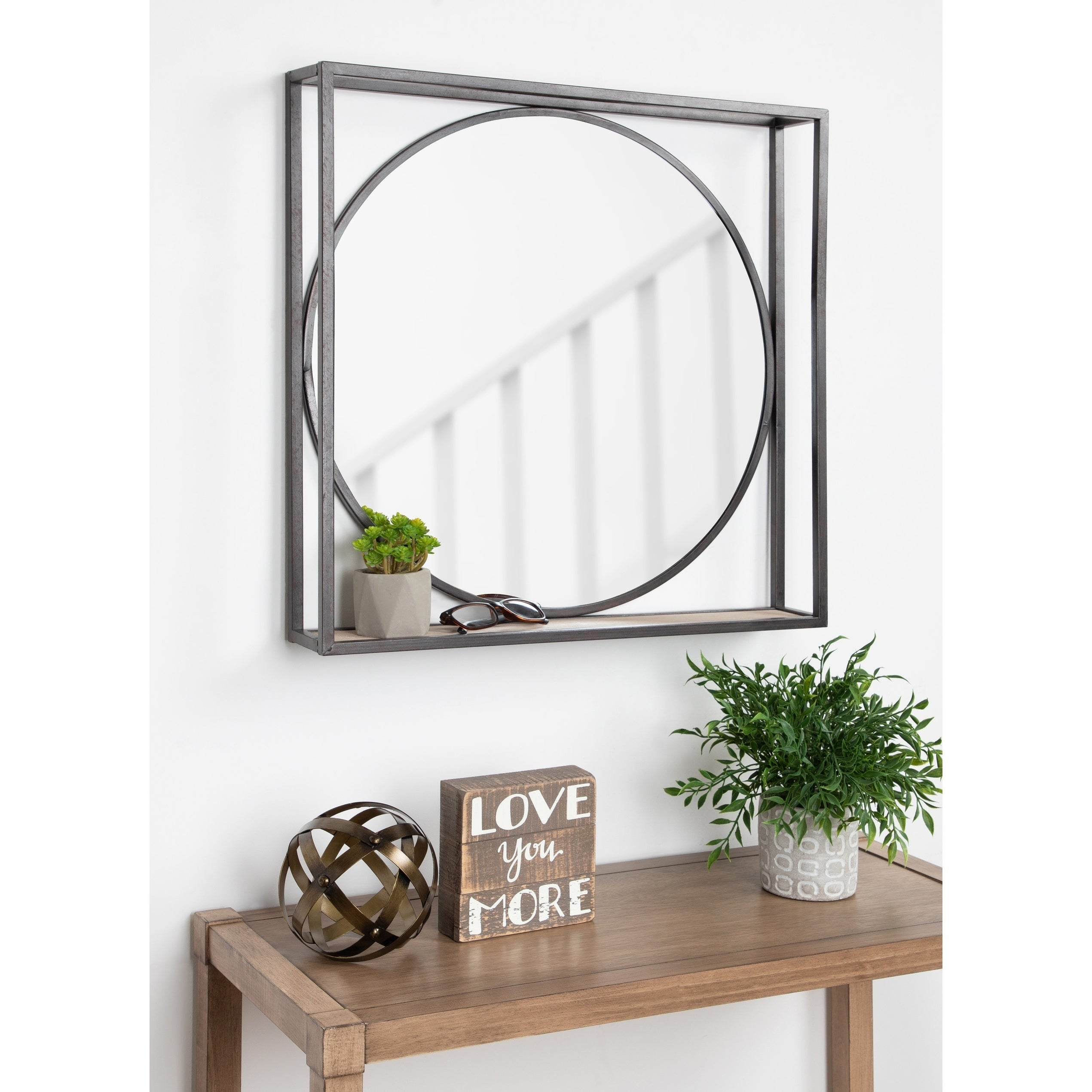 Shop Kate and Laurel McCauley Decorative Black Metal Mirror with