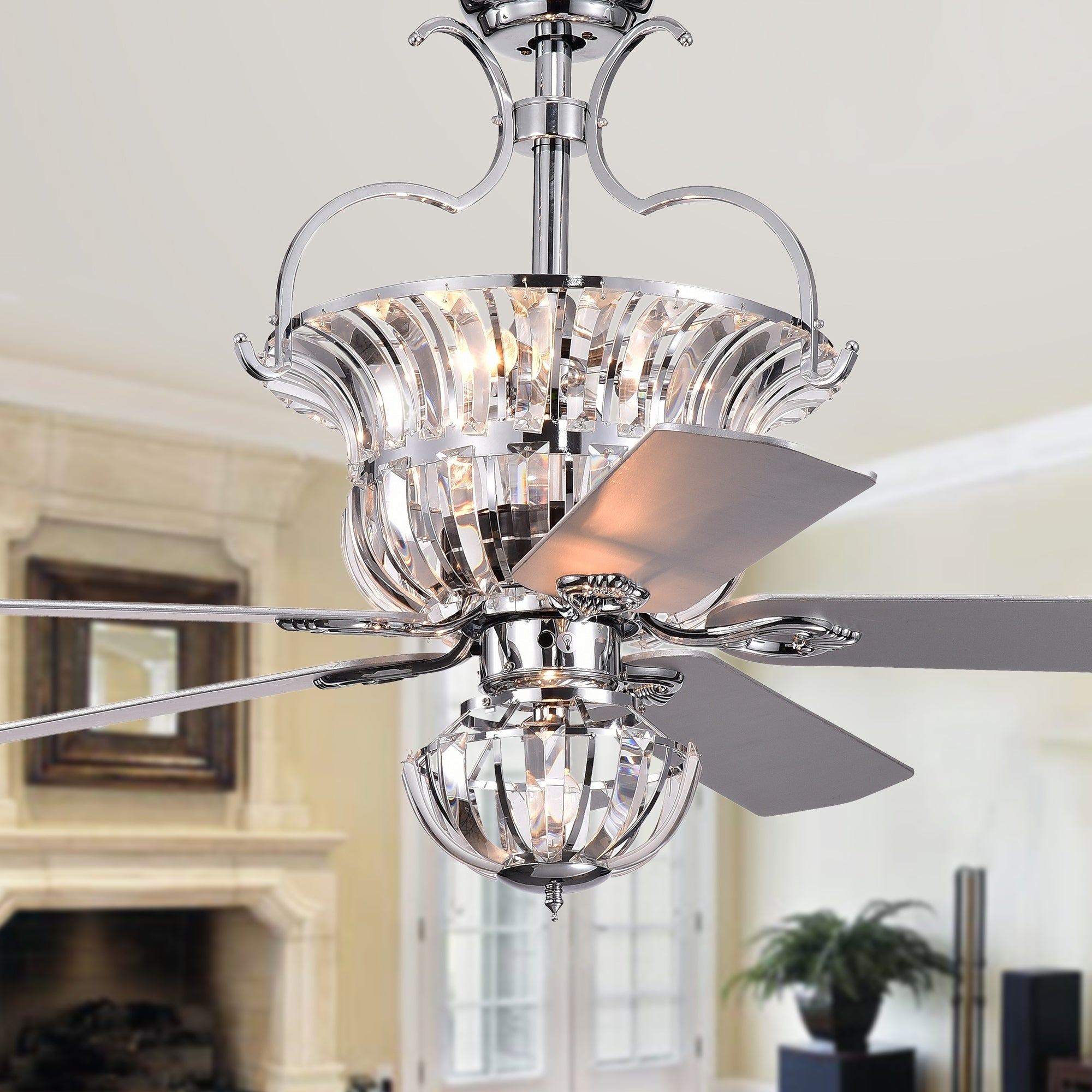 Charla Silver 4 Light Crystal 5 Blade 52 Inch Chandelier Ceiling Fan Remote Controlled
