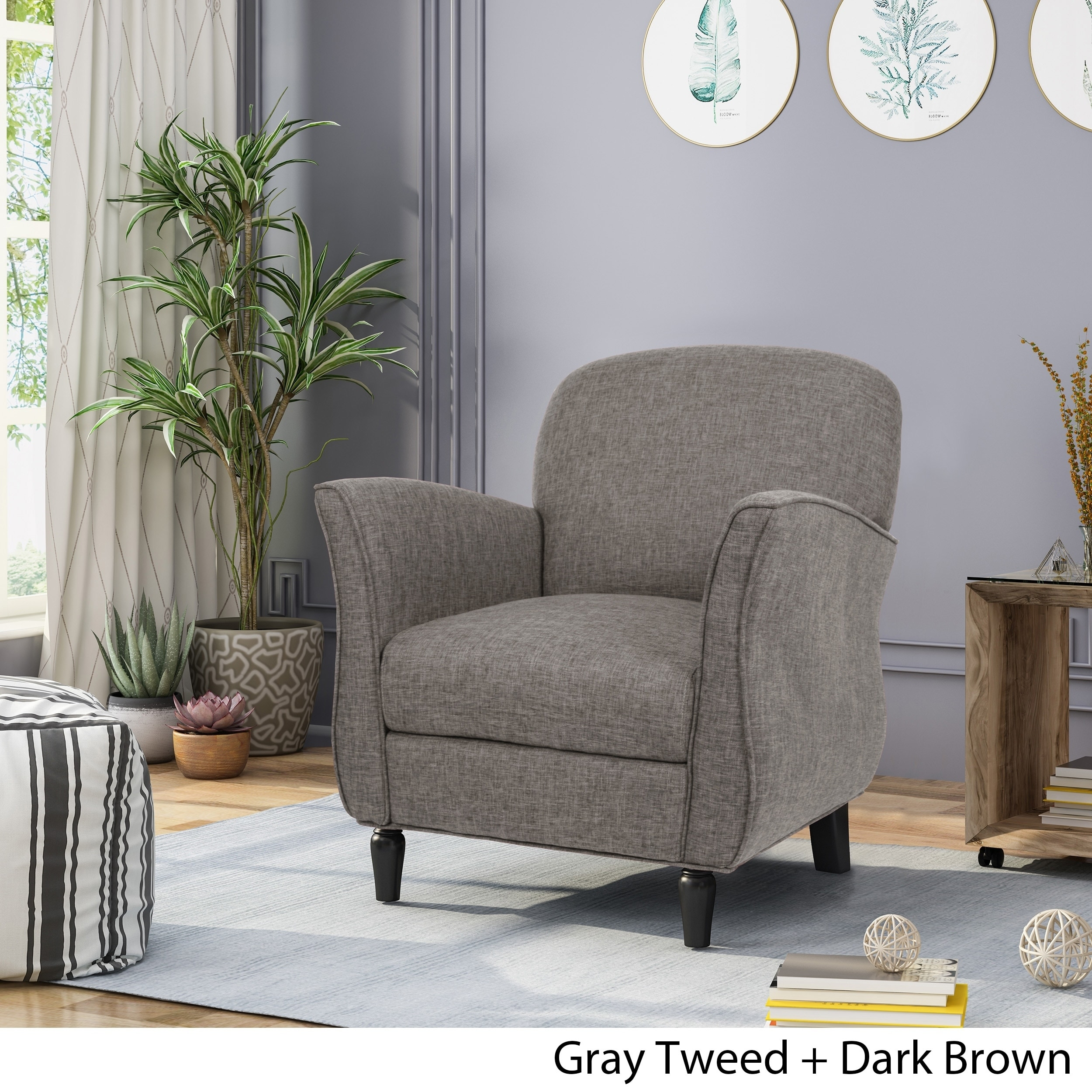 Shop Swainson Traditional Tweed Armchair By Christopher Knight Home   Free  Shipping Today   Overstock.com   22995824