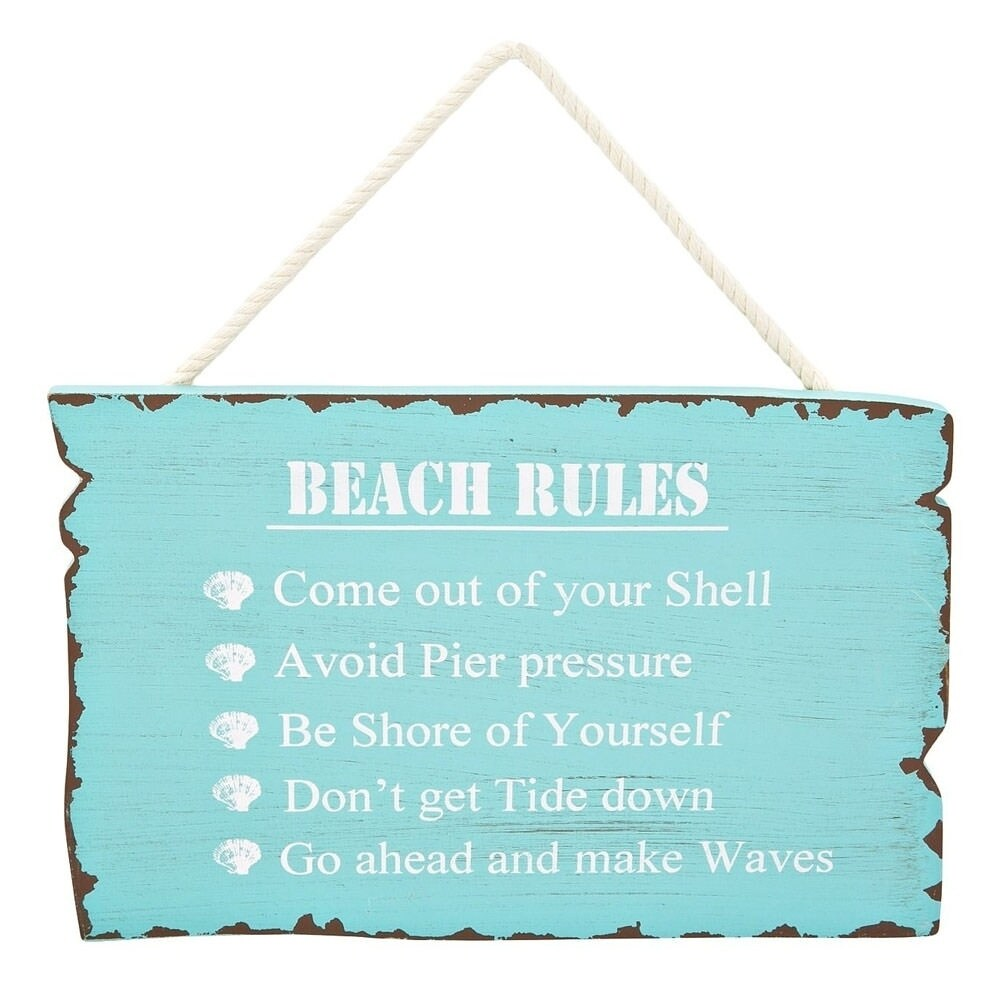 Shop decorative wooden signs beach rules 11 25 x 7 free shipping on orders over 45 overstock com 22996696
