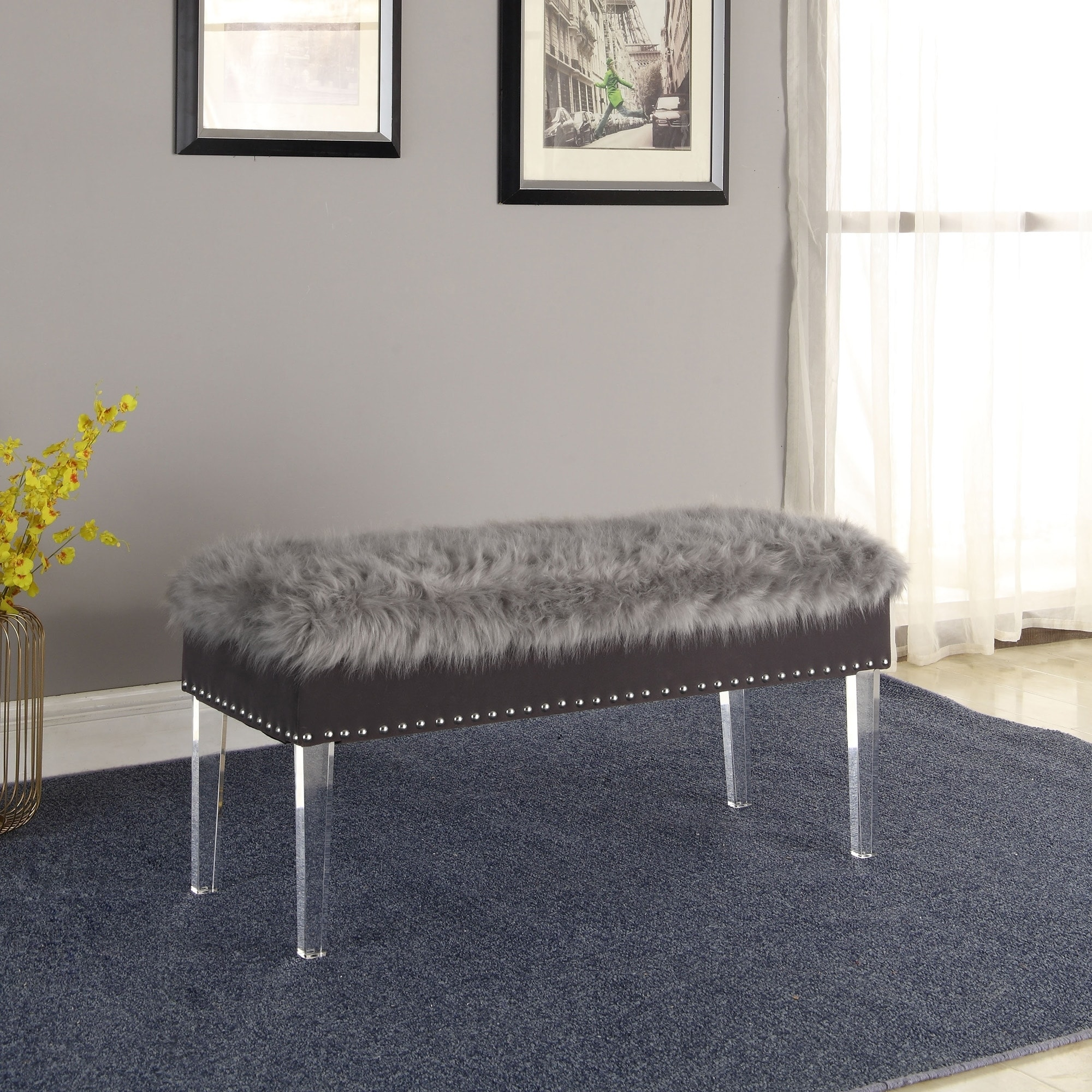 Shop 20 Inch Horice Faux Fur Nailhead Storage Bench With Acrylic Leg