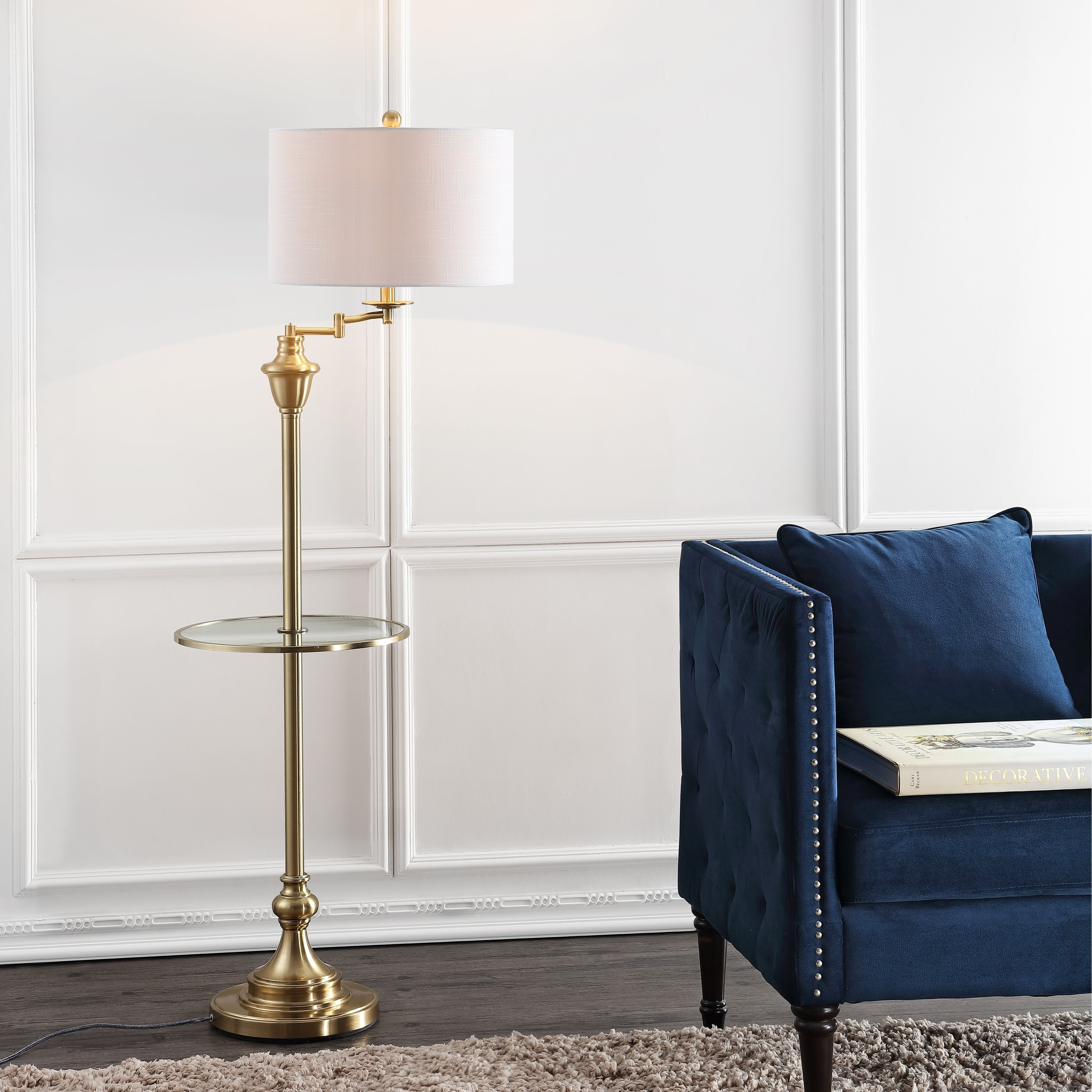 Cora 60 Metal Gl Led Side Table And Floor Lamp Br By Jonathan Y