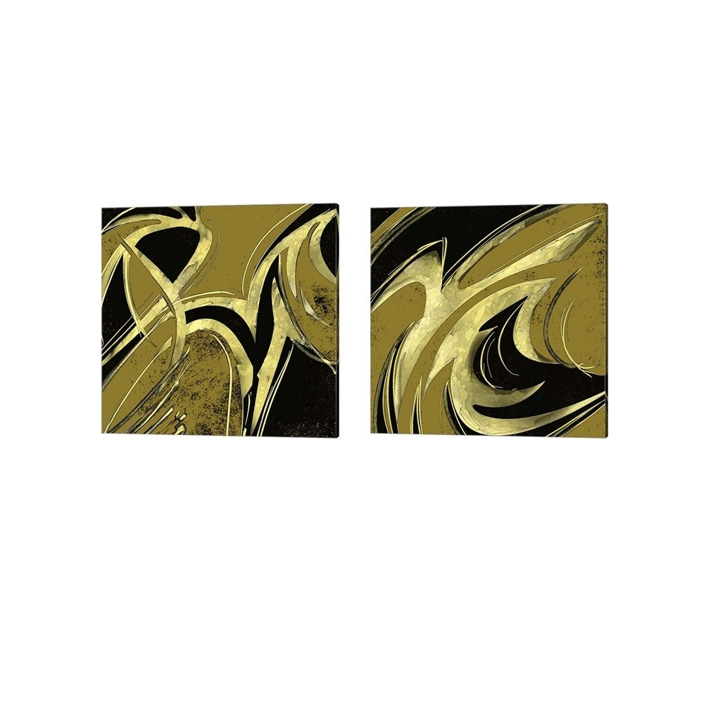 Shop Rick Novak Abstract Black Gold Canvas Art Set Of 2 Free