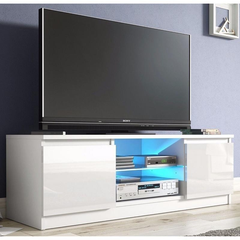 White High Gloss 2 Drawer Cabinet Tv Console Stand With Led Shelves