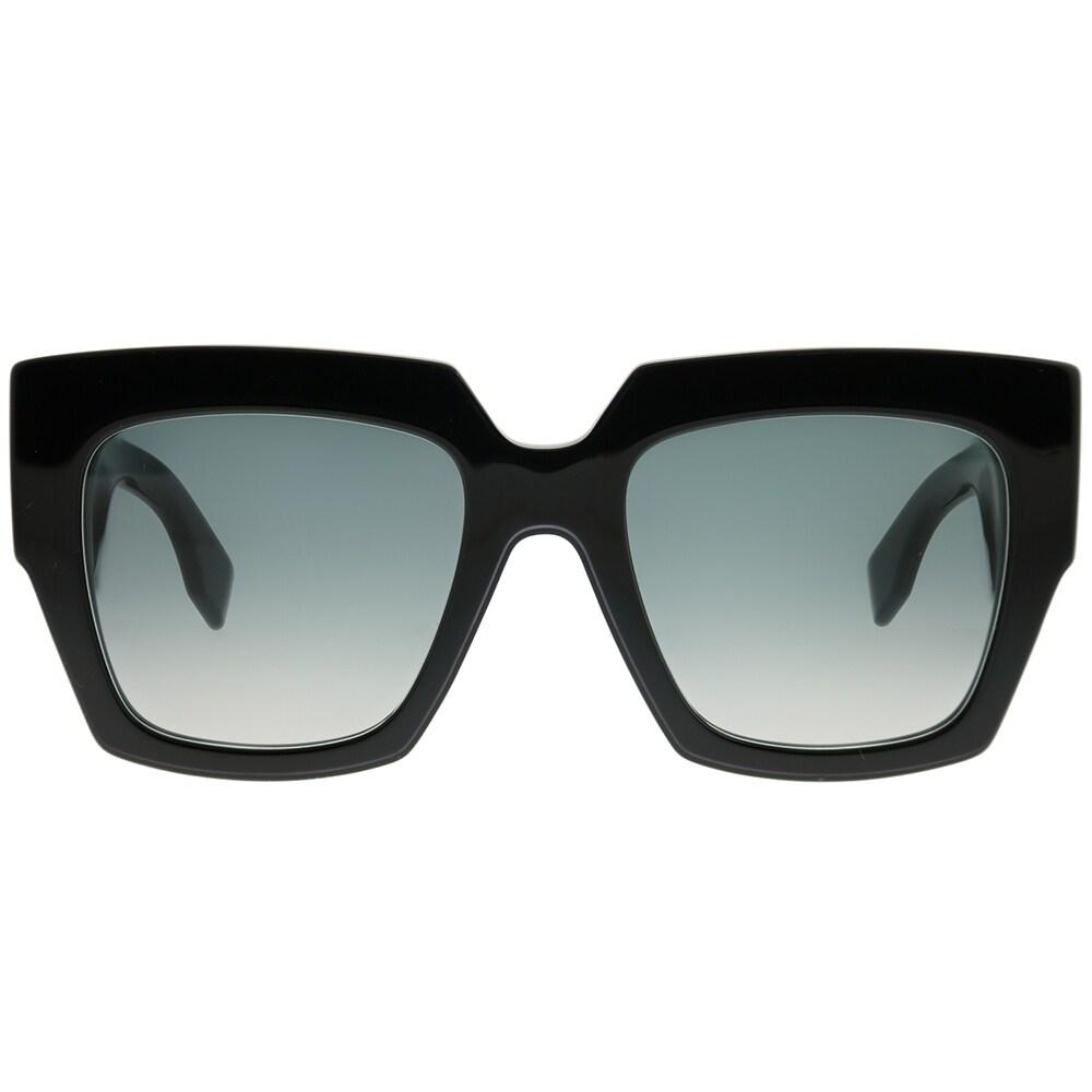 69d96532cb84 Shop Fendi Square FF 0263 807 Womens Black Frame Dark Grey Gradient Lens  Sunglasses - Free Shipping Today - Overstock - 23007756