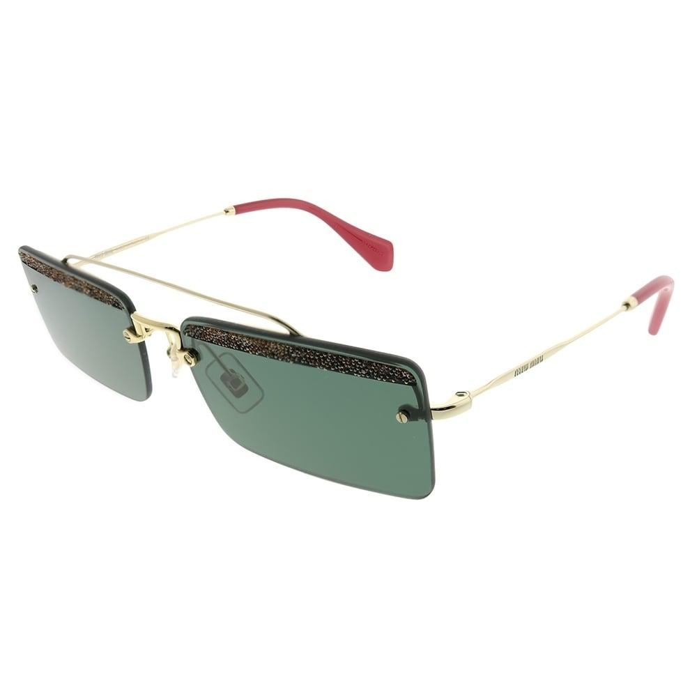 6e22f318091 Shop Miu Miu Rectangle MU 59TS KI63O1 Women Pale Gold Frame Green Lens  Sunglasses - Ships To Canada - Overstock - 23007763