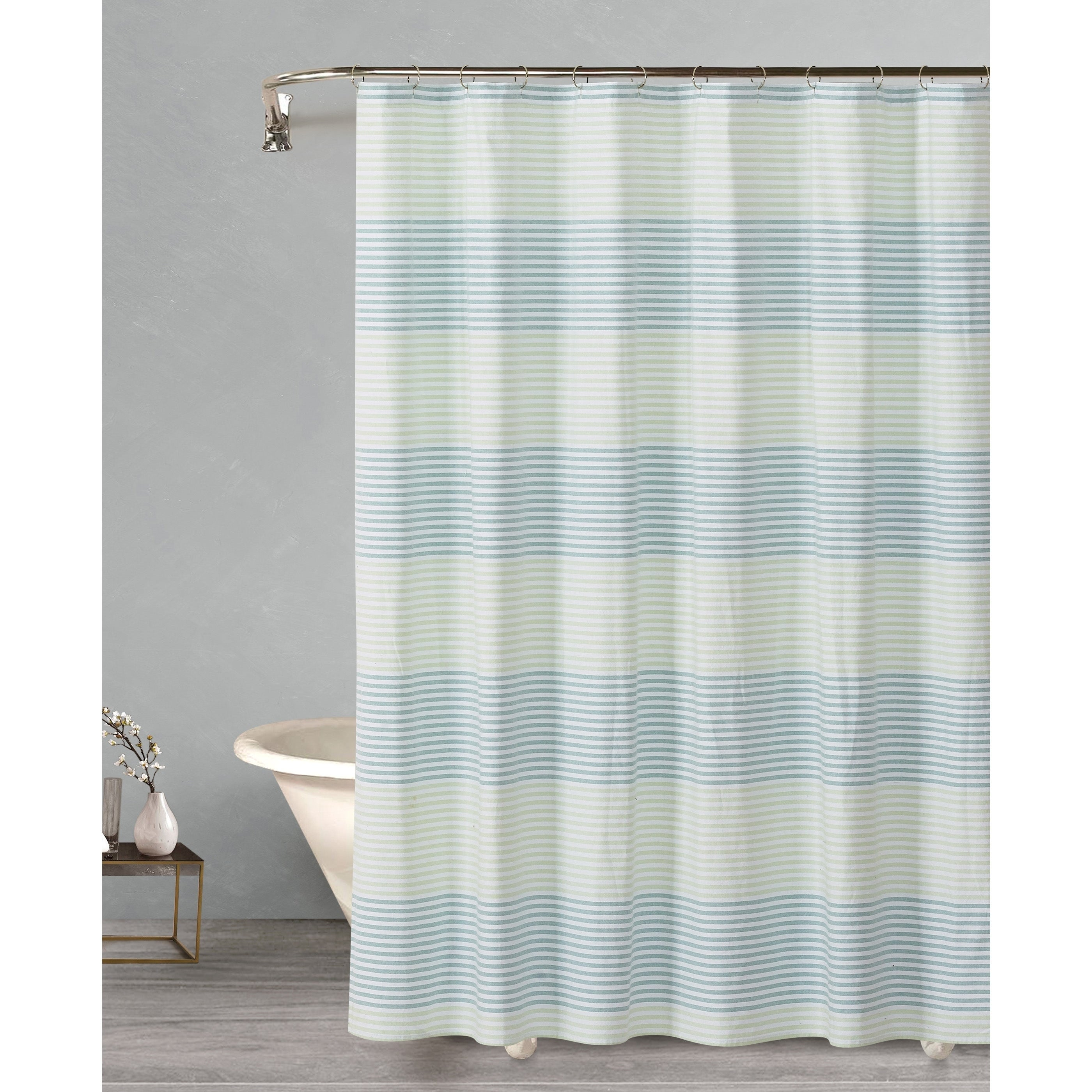 Style Quarters Cabana Stripe Green Cotton Shower Curtain For Bathroom Showers Eco Friendly Machine Washable 72Wx72L
