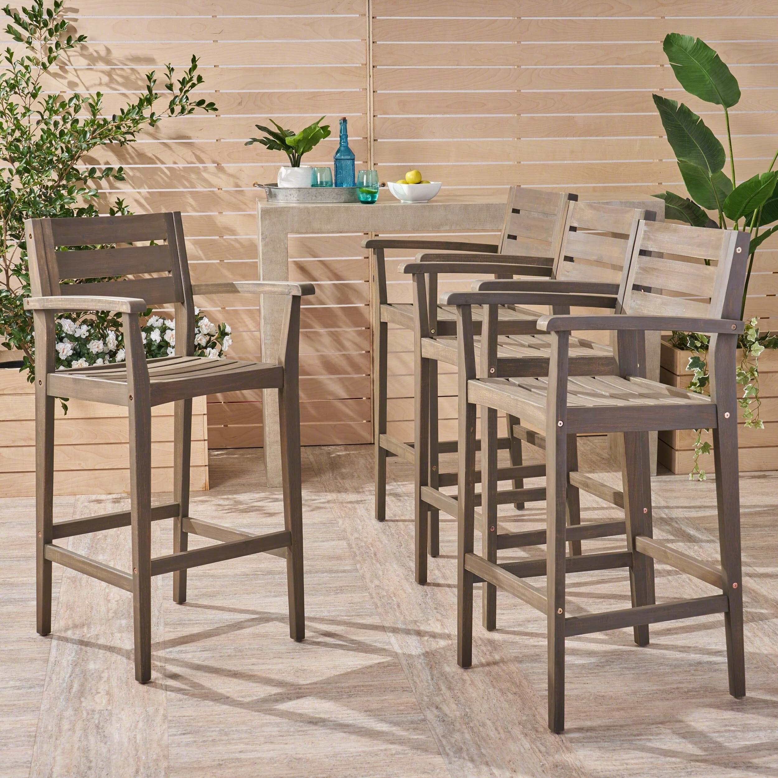 Shop Stamford Outdoor Bar Stools 30 Seats Solid Acacia Wood