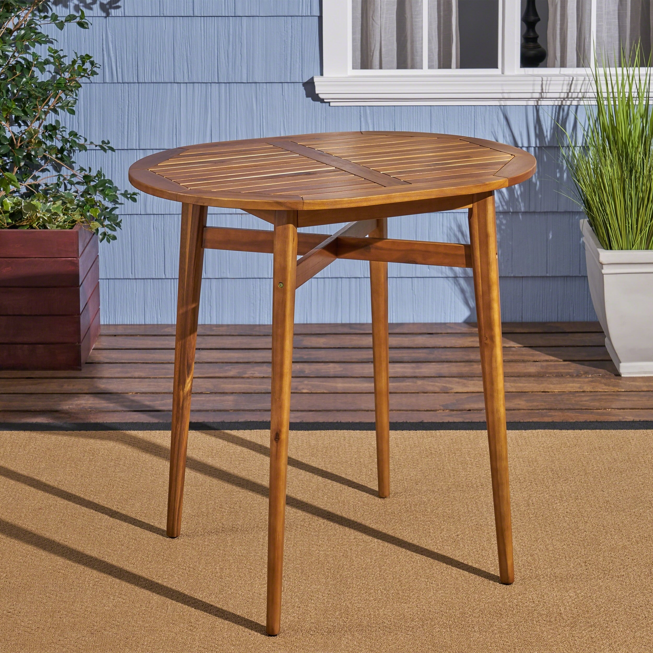 Stamford Bar-Height Patio Table Solid Acacia Wood 39  Counter-Height by Christopher Knight Home & Shop Stamford Bar-Height Patio Table Solid Acacia Wood 39