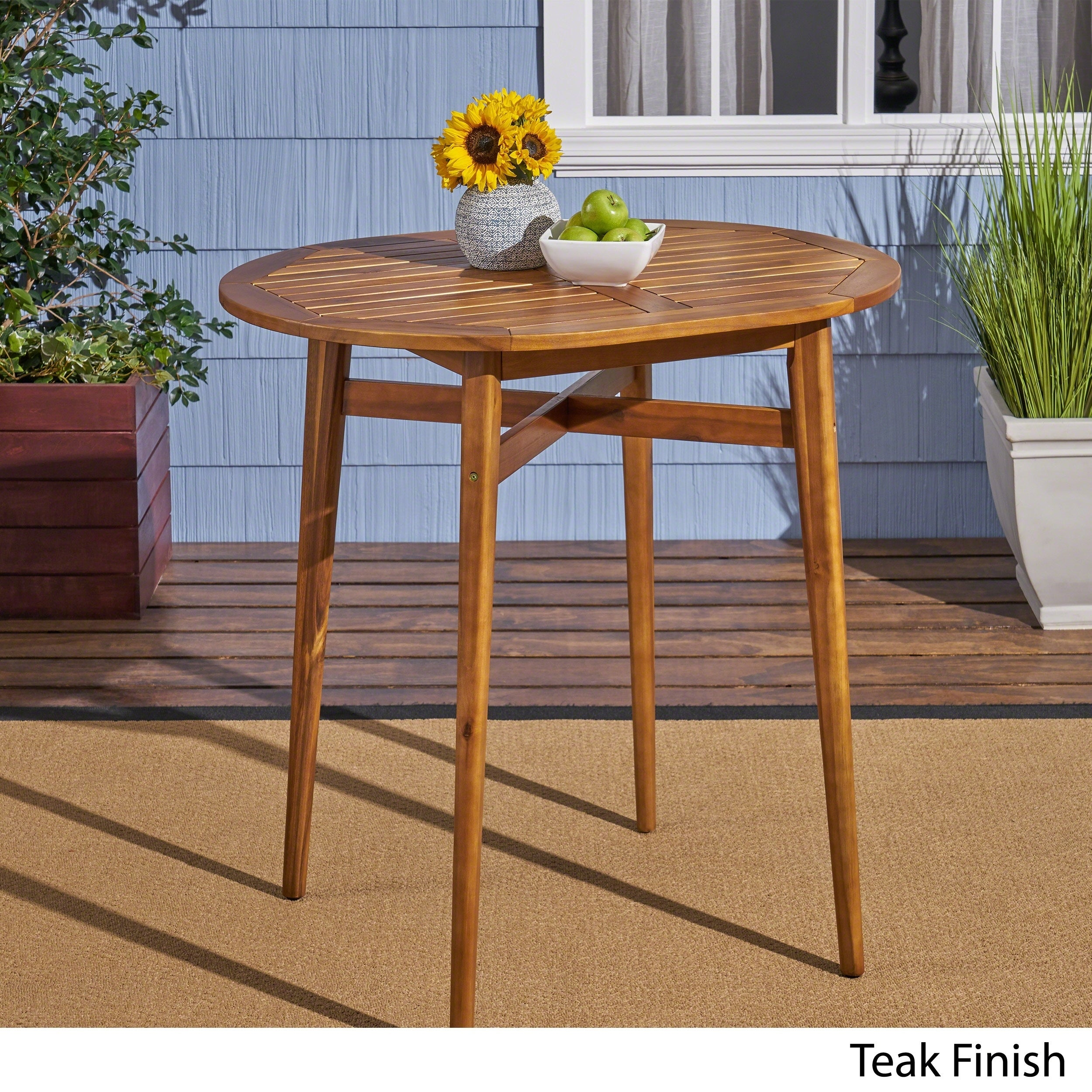 Shop Stamford Bar Height Patio Table Solid Acacia Wood 39 Counter