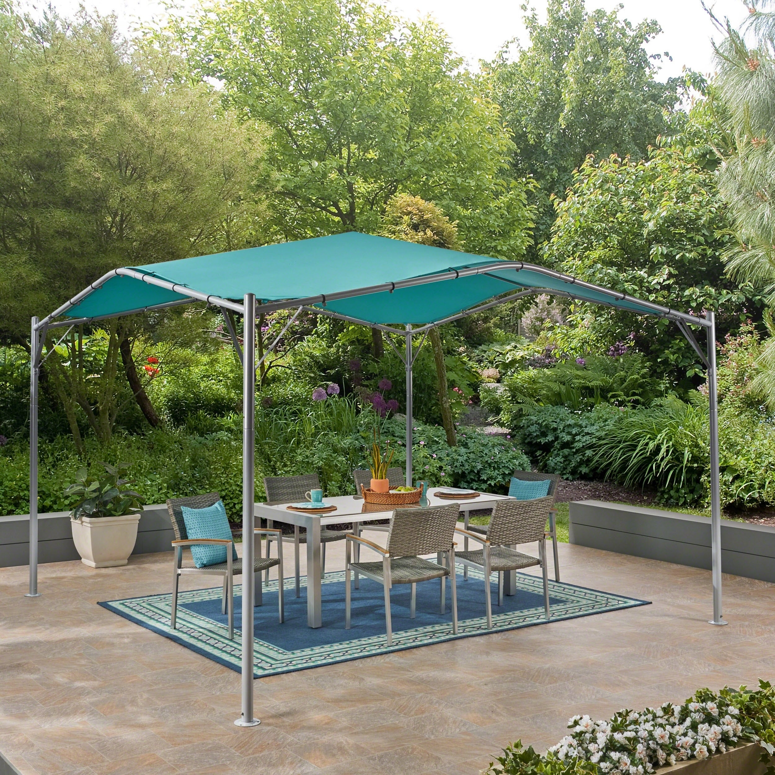 Poppy Aluminum Gazebo Canopy Lightweight Water Resistant Fabric Teal And Silver Perfect For Patio By Christopher Knight Home