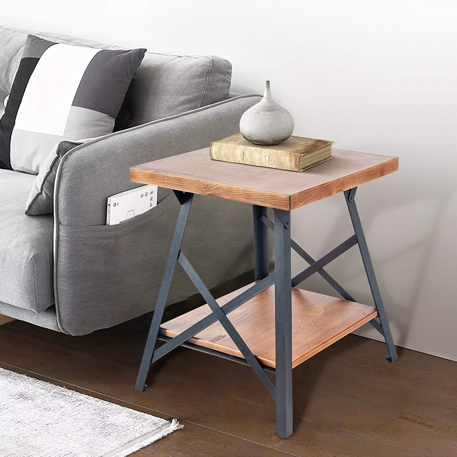 Harper Bright Designs Wood End Table With Metal Legs Free Shipping Today 23008068