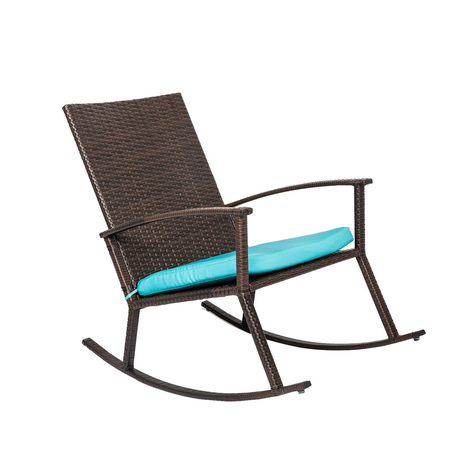 Shop Kinbor Handmade PE Wicker Rocking Chair Rattan Rocker Armchair All Weather  Outdoor Seat W/ Cushion Patio Furniture   Free Shipping Today ...