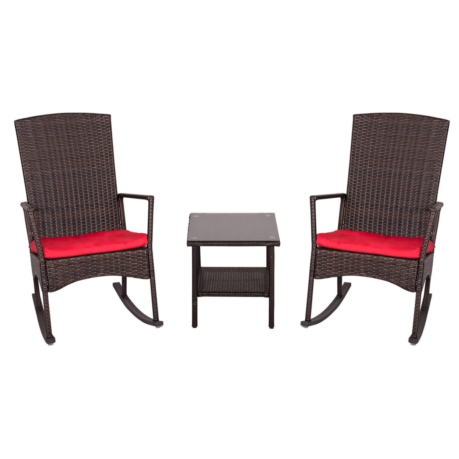 Kinbor 3 Piece Wicker Rocking Chair Bistro Set Patio Chat All Weather Outdoor Furniture W Cushions Table Free Shipping Today