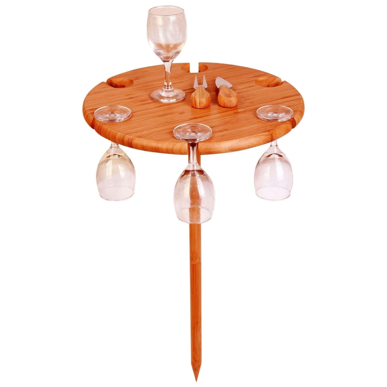 Shop Bambusi Portable Outdoor Picnic Wine Table Holder W Cutlery