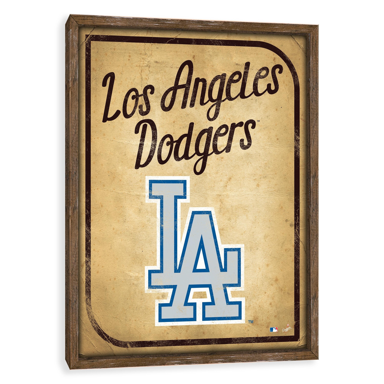 Shop Los Angeles Dodgers Vintage Card Recessed Box - 16W x 20H x ...