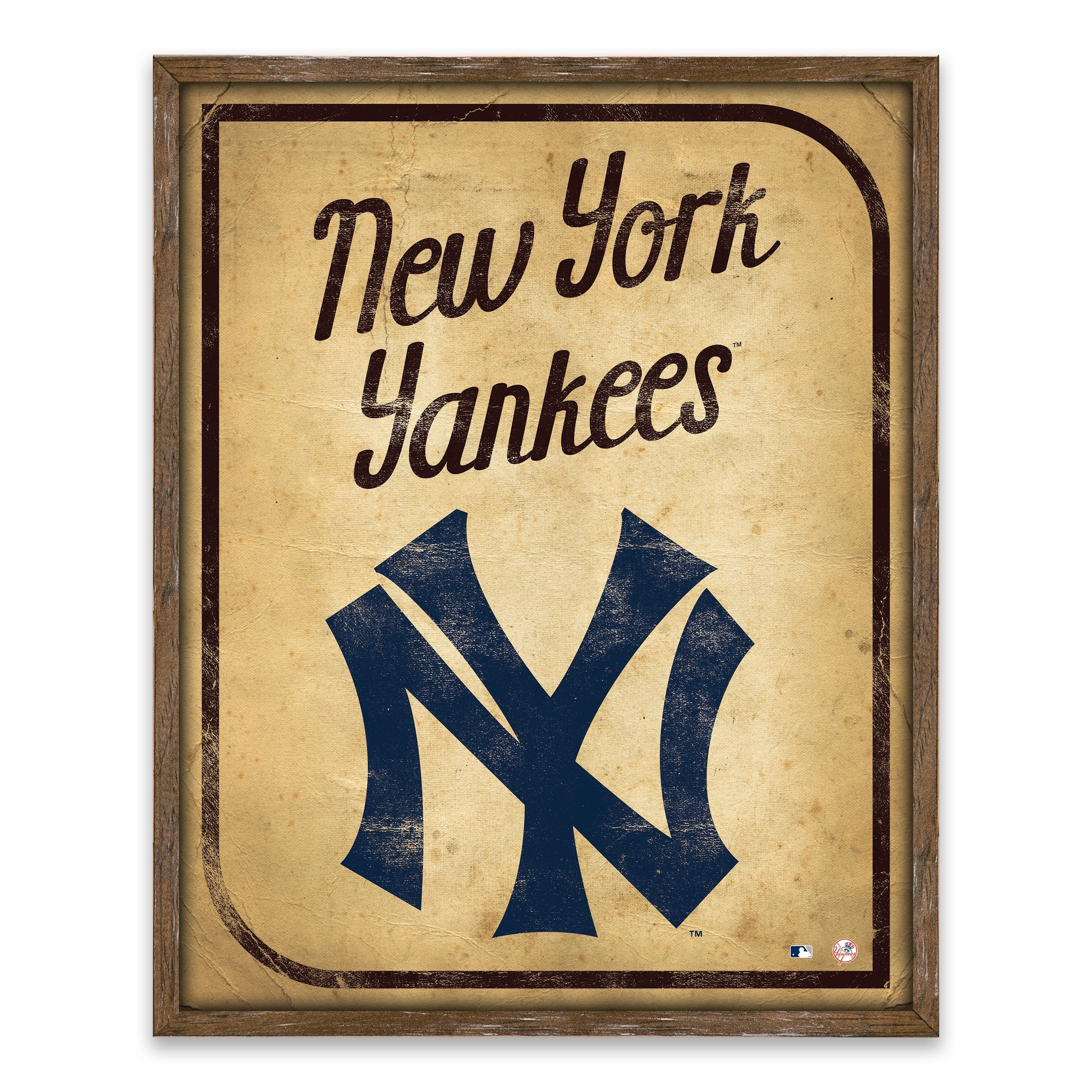 Shop New York Yankees Vintage Card Recessed Box - 16W x 20H x 1.25D ...
