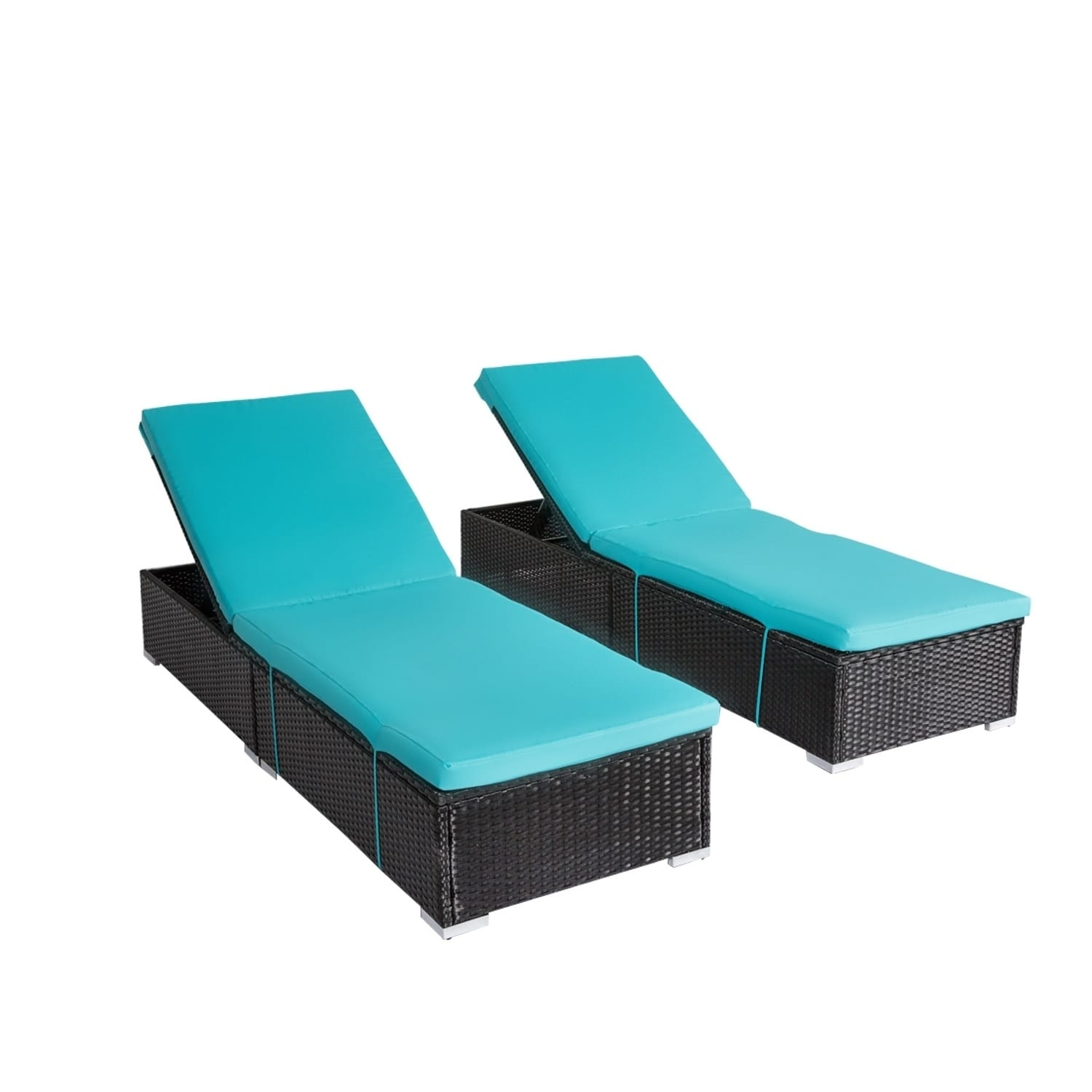 Kinbor Outdoor Adjule Chaise Lounge Chair Set All Weather Pe Rattan Wicker W Cushions Table