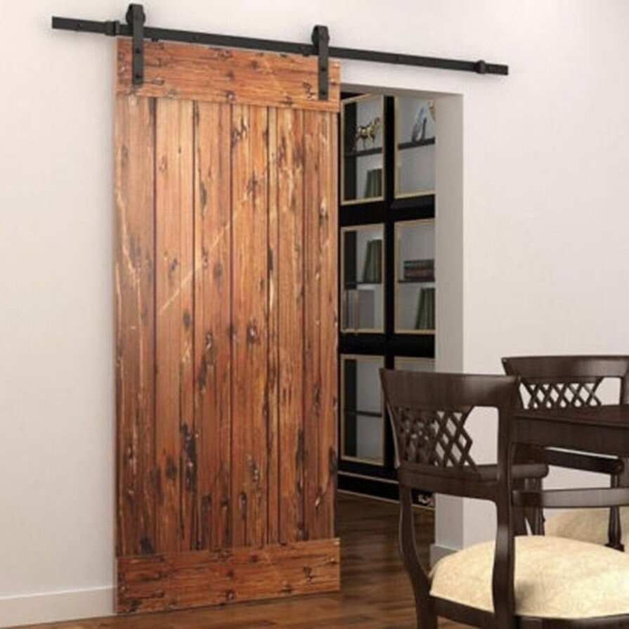 Shop Black 55ft Sliding Barn Door Wood Door Hanging Rail Type Black