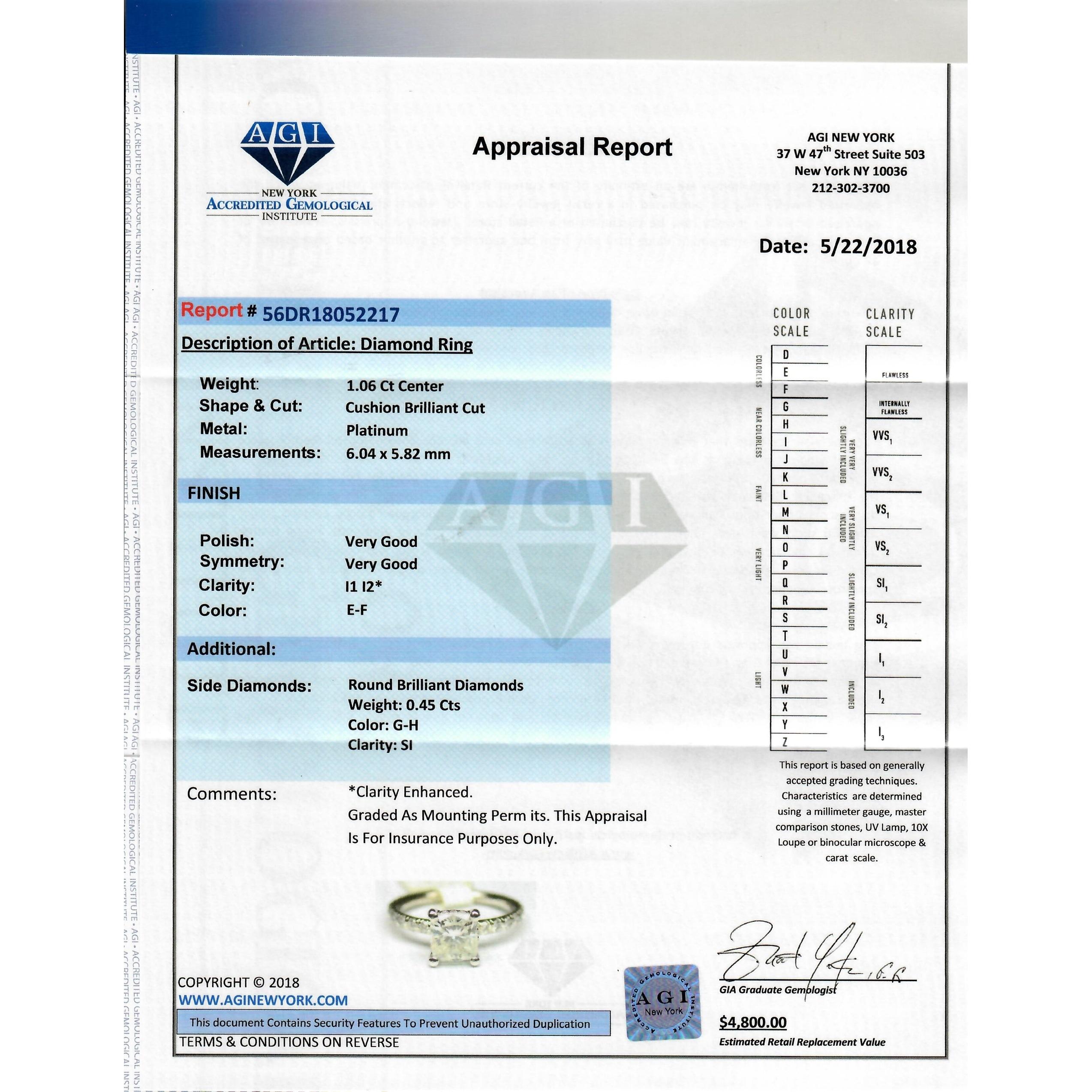 Platinum 1 51 Ct TDW Certified Round Diamond Engagement Ring