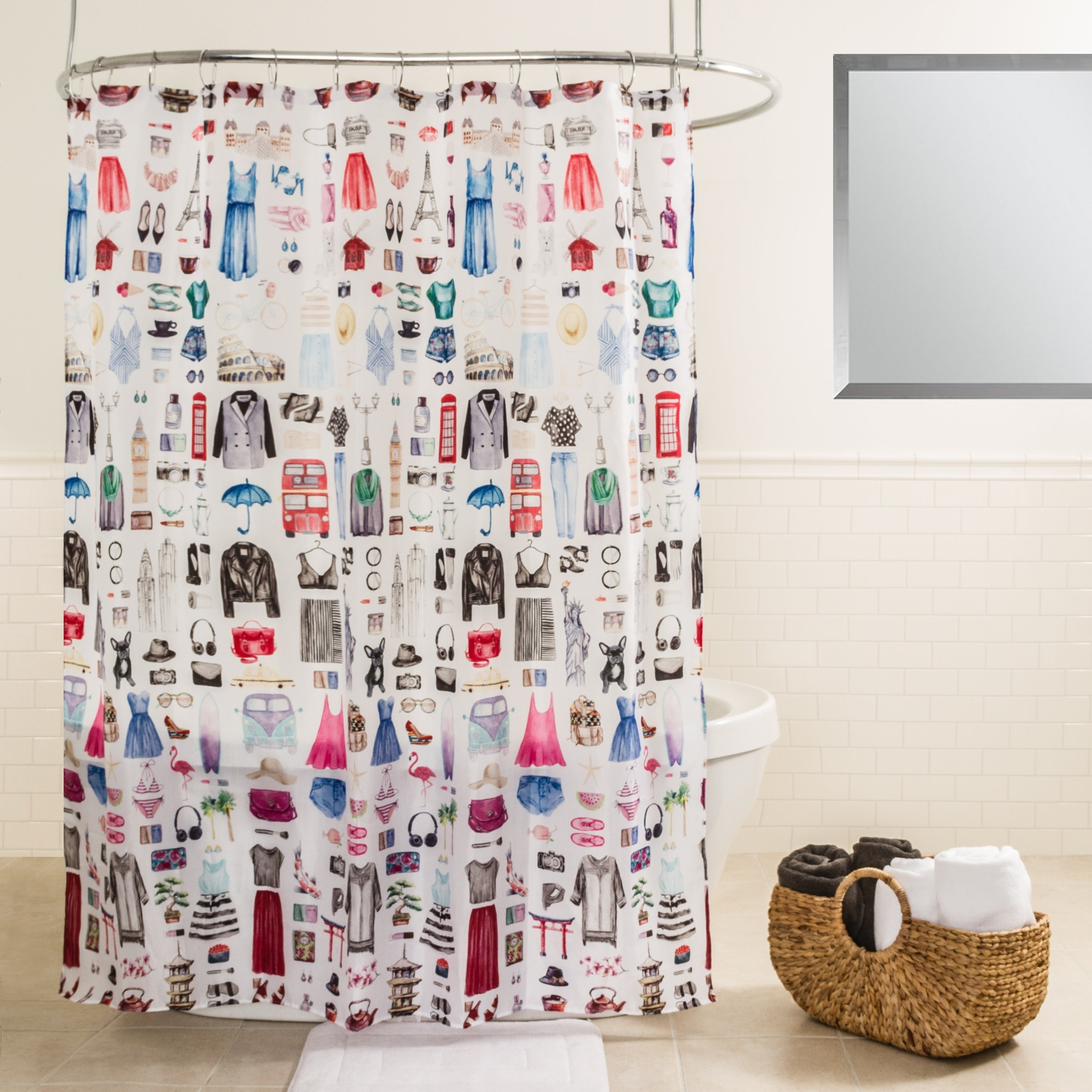 Shop Splash Home Travel Girl Polyester Fabric Shower Curtain 70 X