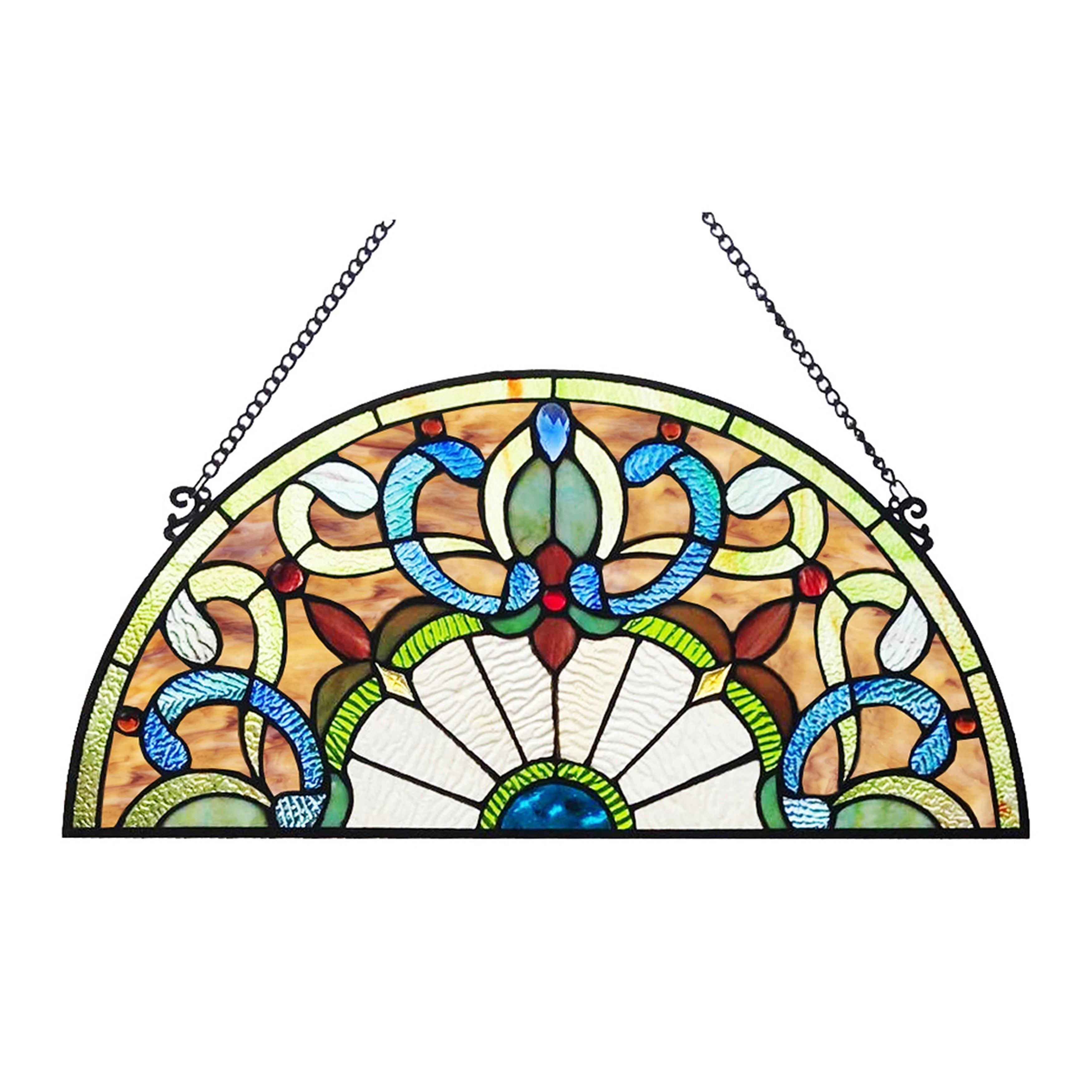 455d5469f Shop River of Goods Victorian Corista Half-Moon Stained Glass Window Panel  - Free Shipping Today - Overstock - 23040700