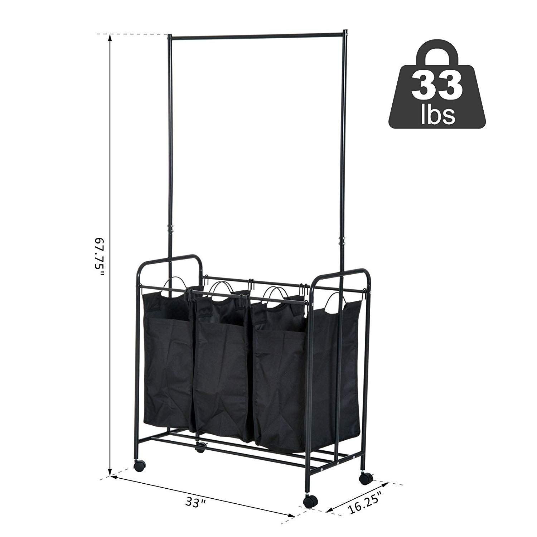 Shop Homcom 3 Bag Heavy Duty Divided Laundry Hamper Sorter Cart With