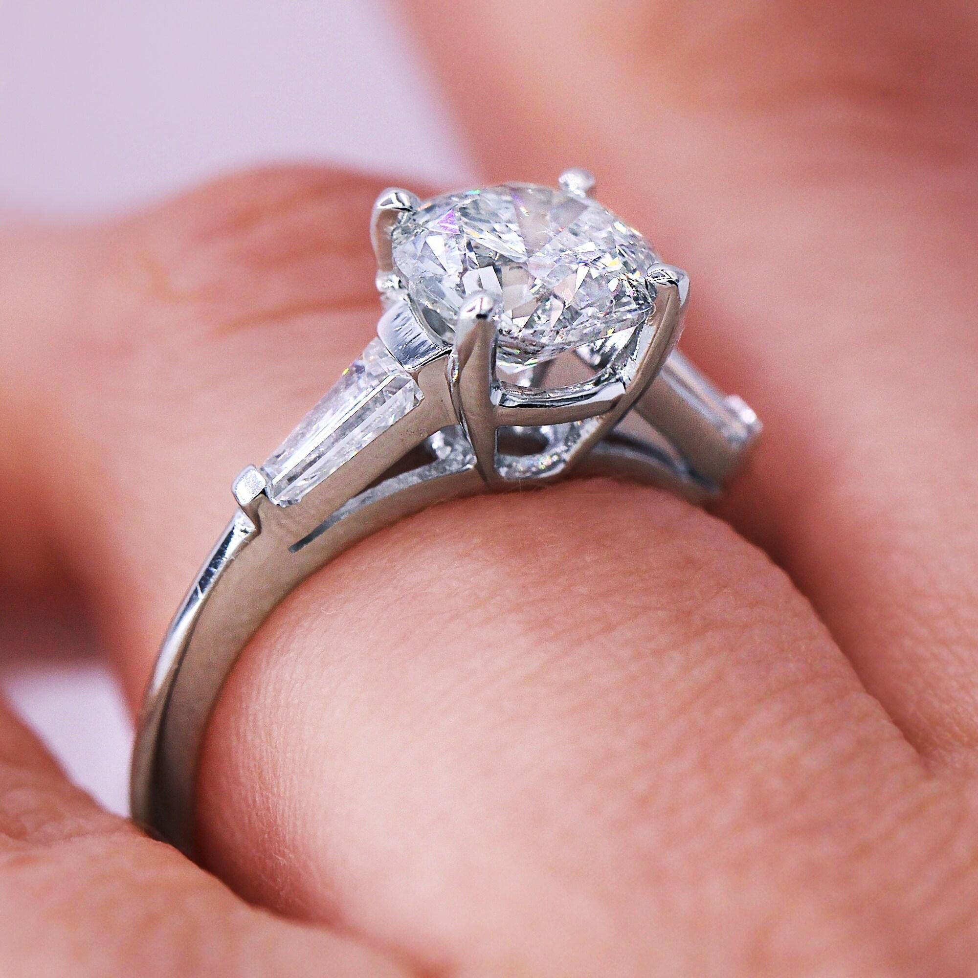 Shop 18KT White Gold 2.03 Ct Certified Round Three-Stone Diamond ...