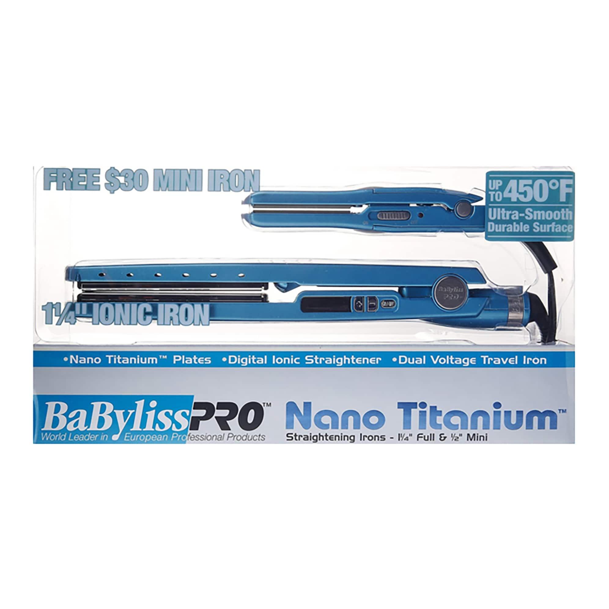 BaBylissPRO Nano Titanium Digital Ionic 1 25-inch Flat Iron + Free Travel  Flat Iron