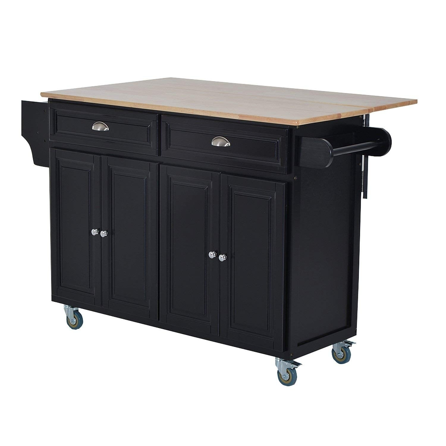 Homcom Wood Top Drop Leaf Multi Storage Cabinet Rolling Kitchen Island Table Cart With Wheels Black On Free Shipping Today