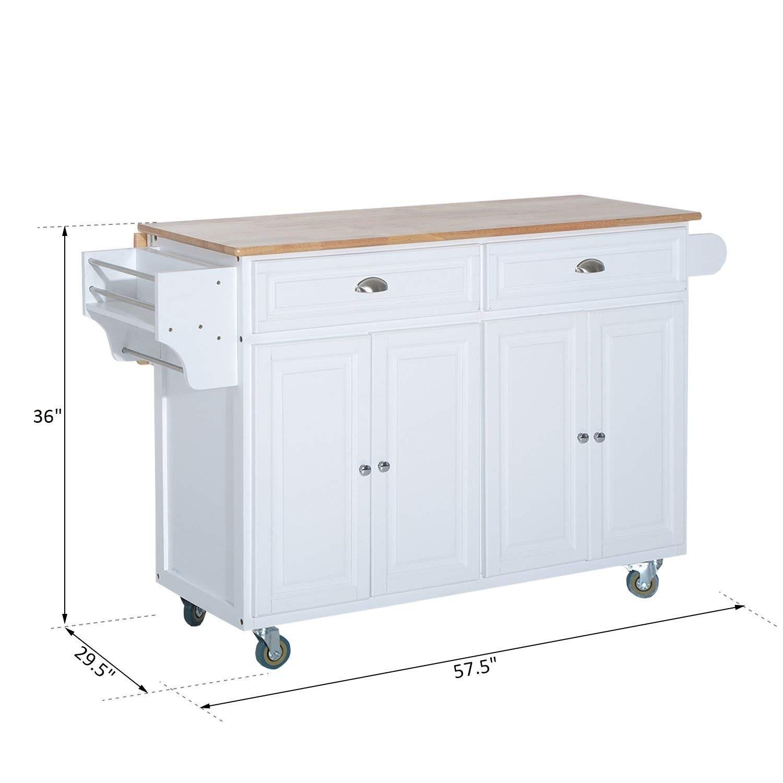 Shop Homcom Wood Top Drop Leaf Multi Storage Cabinet Rolling Kitchen Island