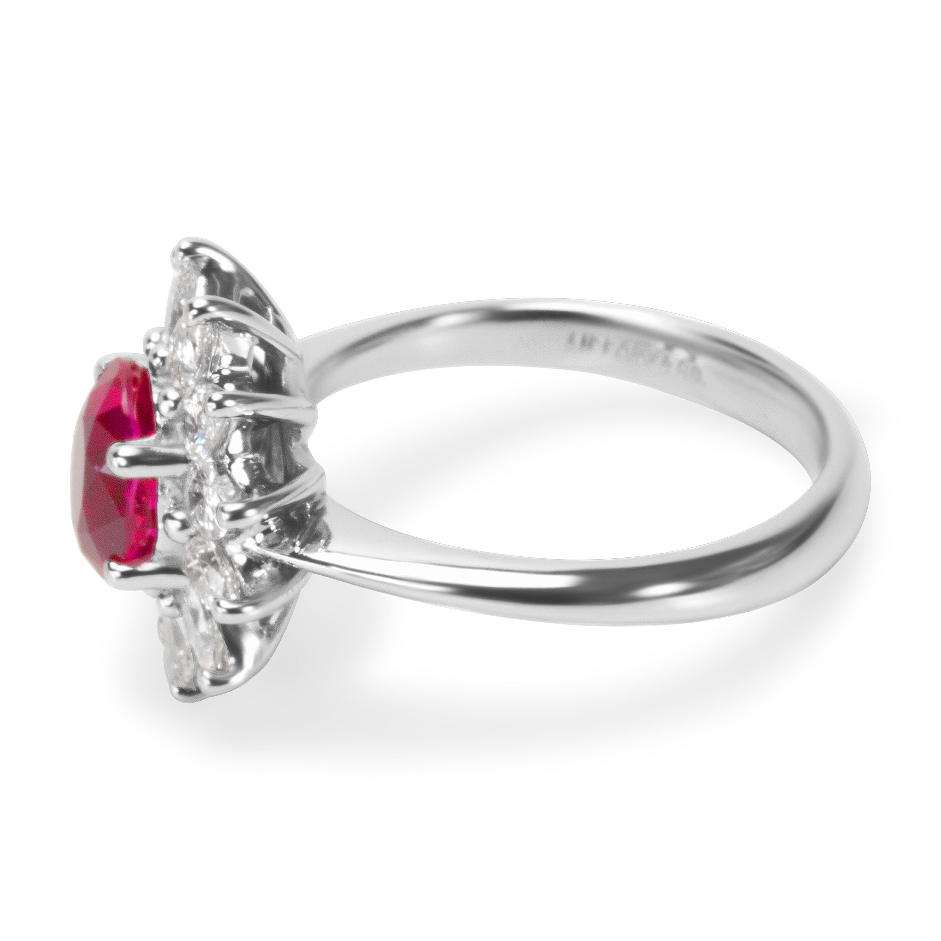 a95b242bc Shop Pre-Owned Tiffany & Co GIA Certified Burmese Ruby & Diamond Ring in  Platinum 2.13 ctw - Free Shipping Today - Overstock - 23056037