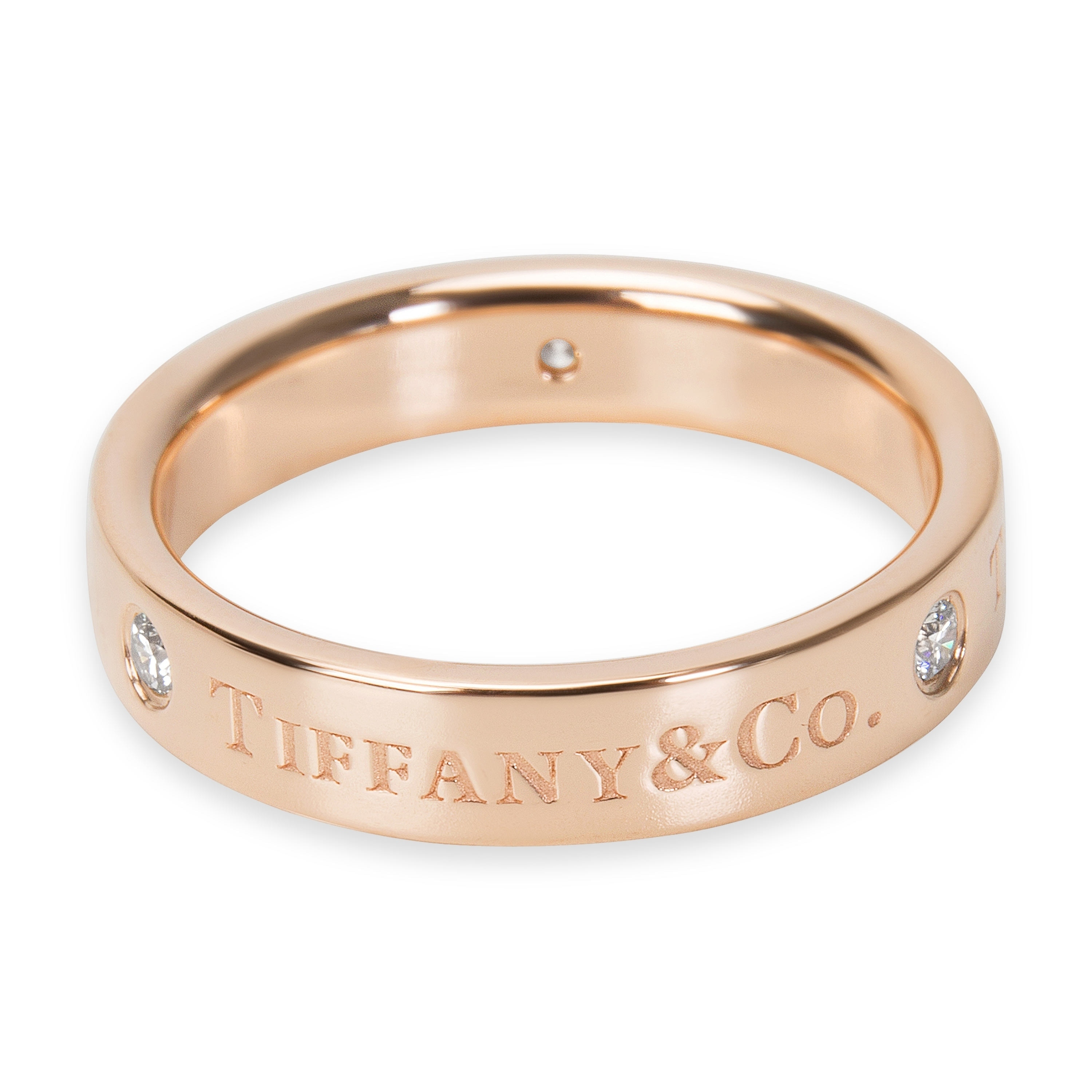 cfc3677b2a070 Pre-Owned Tiffany & Co. Signature Diamond 4mm Band in 18KT Rose Gold 0.07ctw
