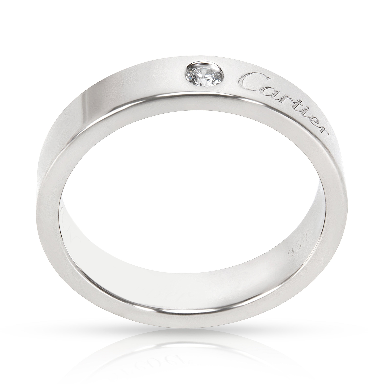 Shop Pre Owned C De Cartier Diamond Wedding Band In Platinum 4mm