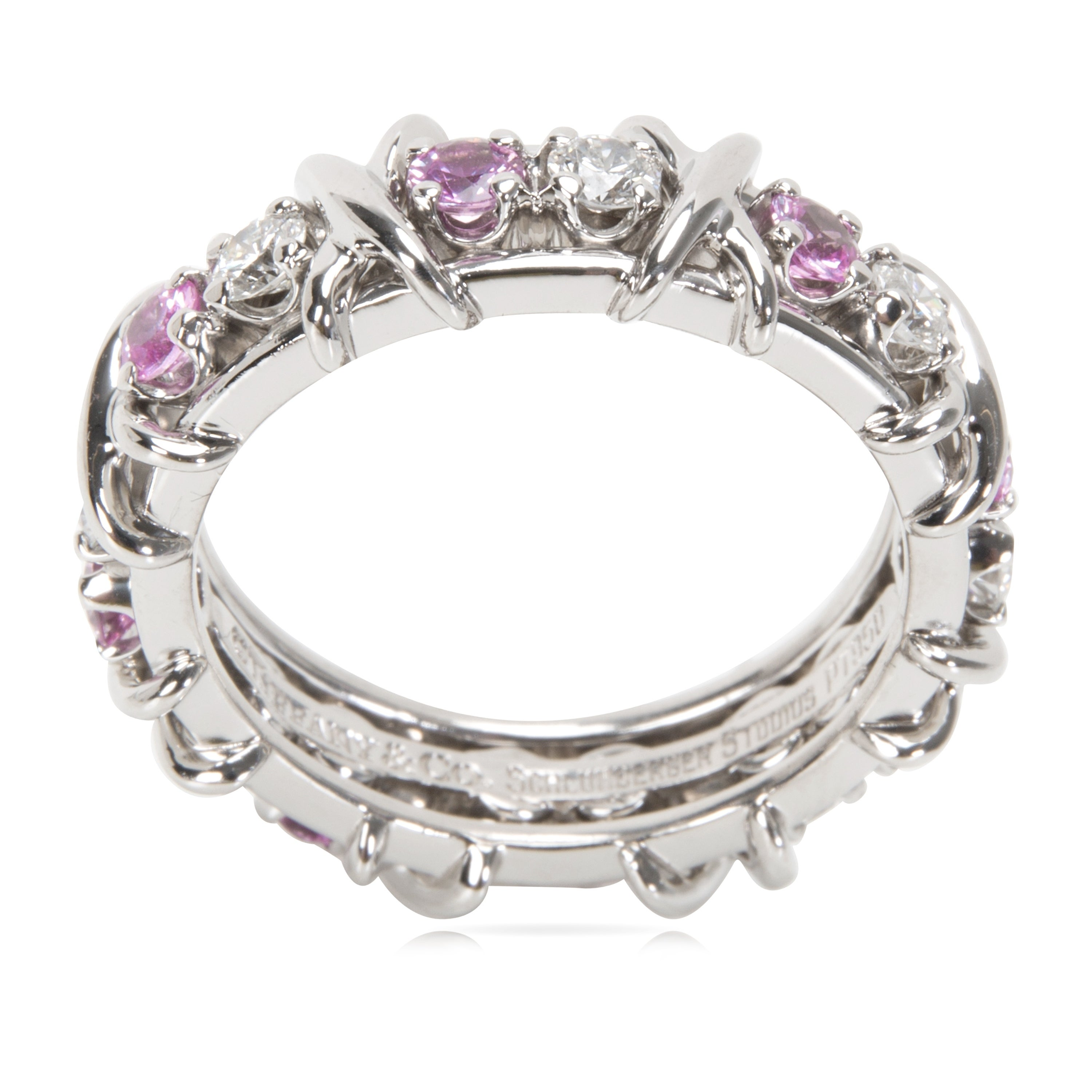 754047032 Shop Pre-Owned Tiffany & Co. Schlumberger Diamond & Pink Sapphire Ring -  Free Shipping Today - Overstock - 23056119