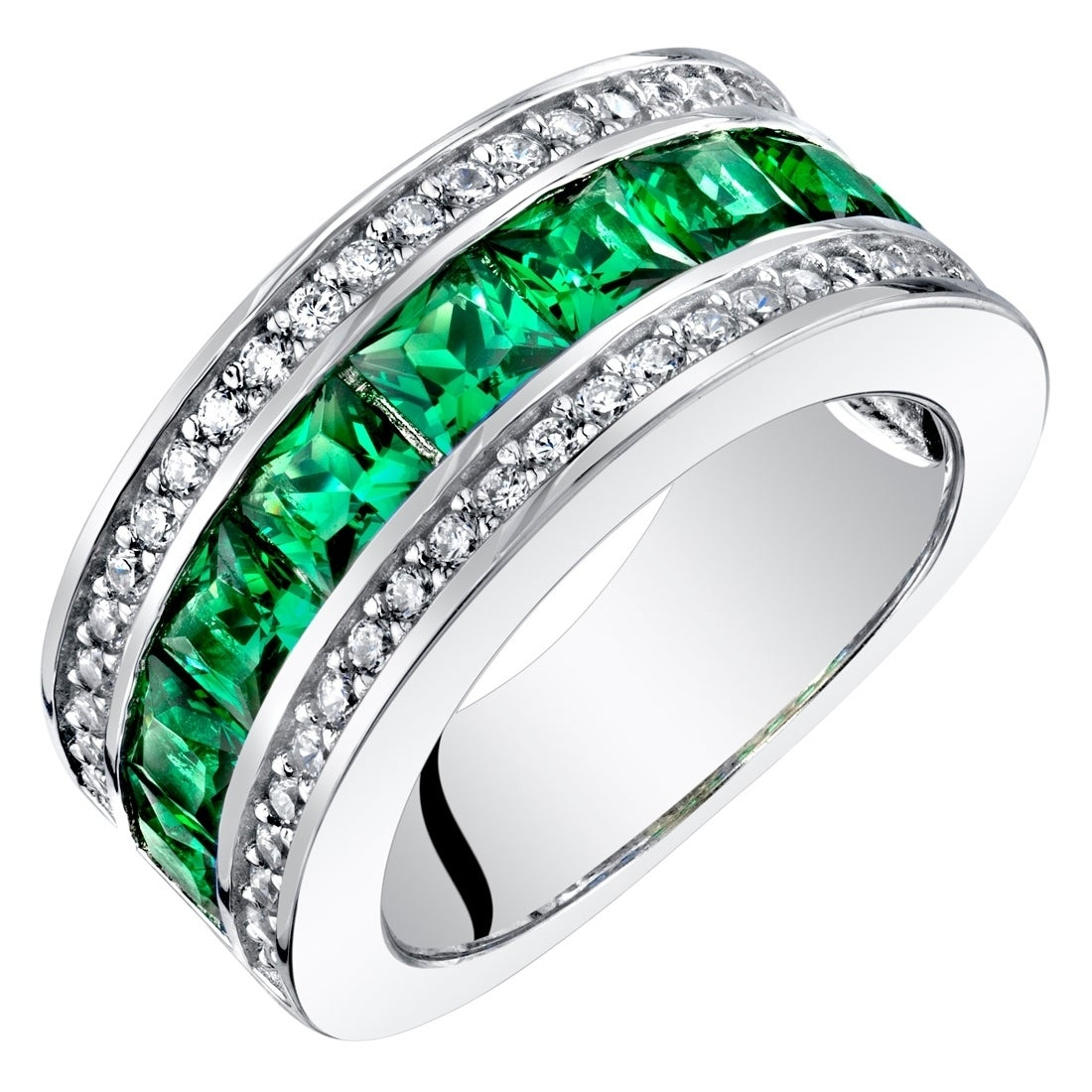 Shop Sterling Silver Princess Cut Simulated Emerald 3 Row Wedding