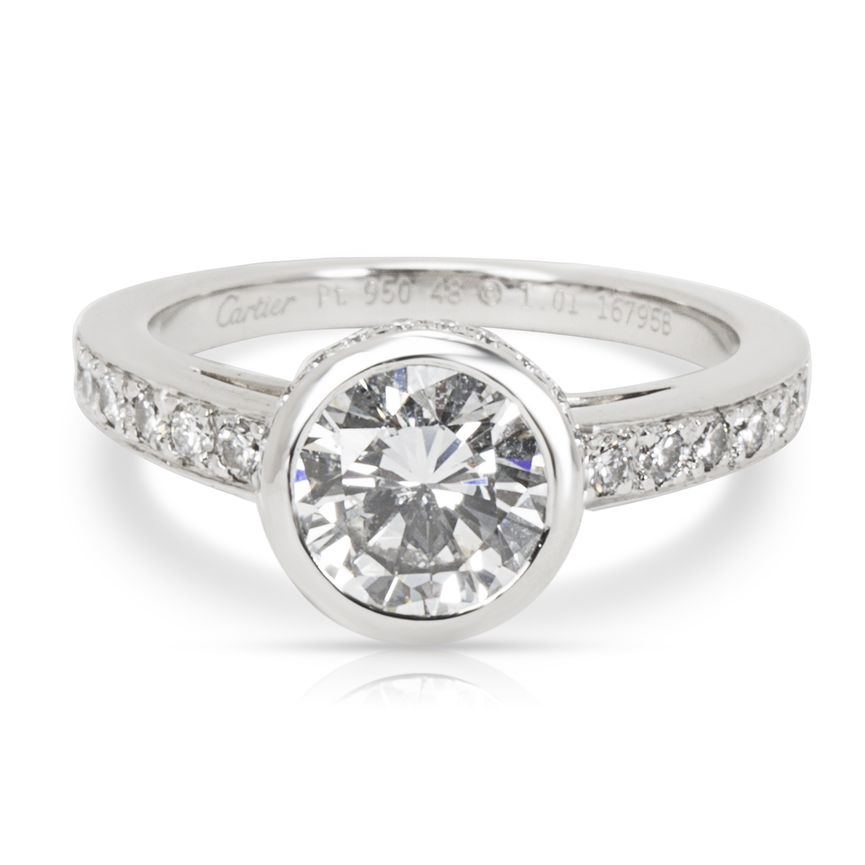 Preowned Cartier Diamond Engagement Ring In Platinum 101 Evs1 Center: Cartier Wedding Rings Sets At Websimilar.org