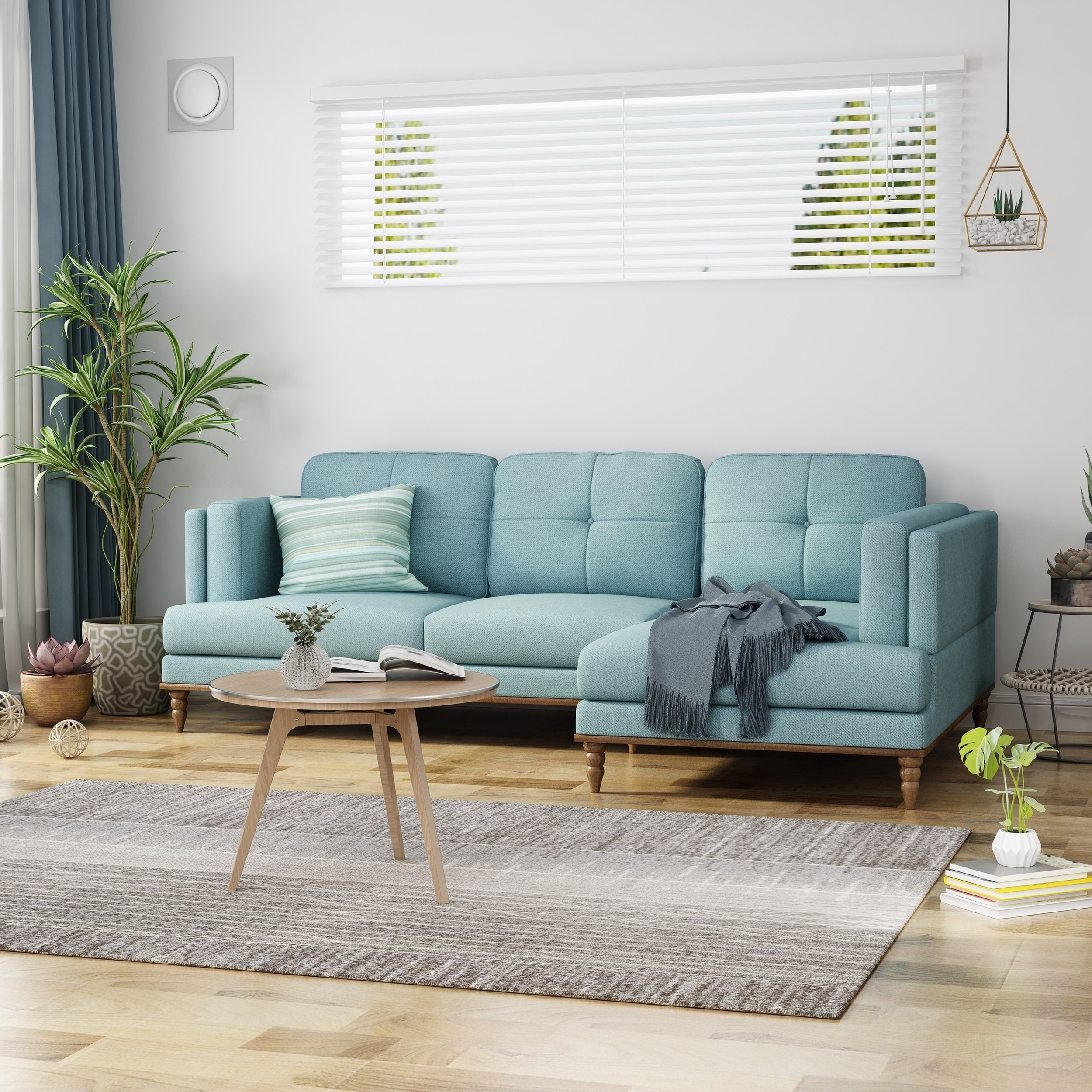 Hollyhock Sectional Couch Set With Chaise Lounge 3 Seater Upholstered Birch Legs By Christopher Knight Home