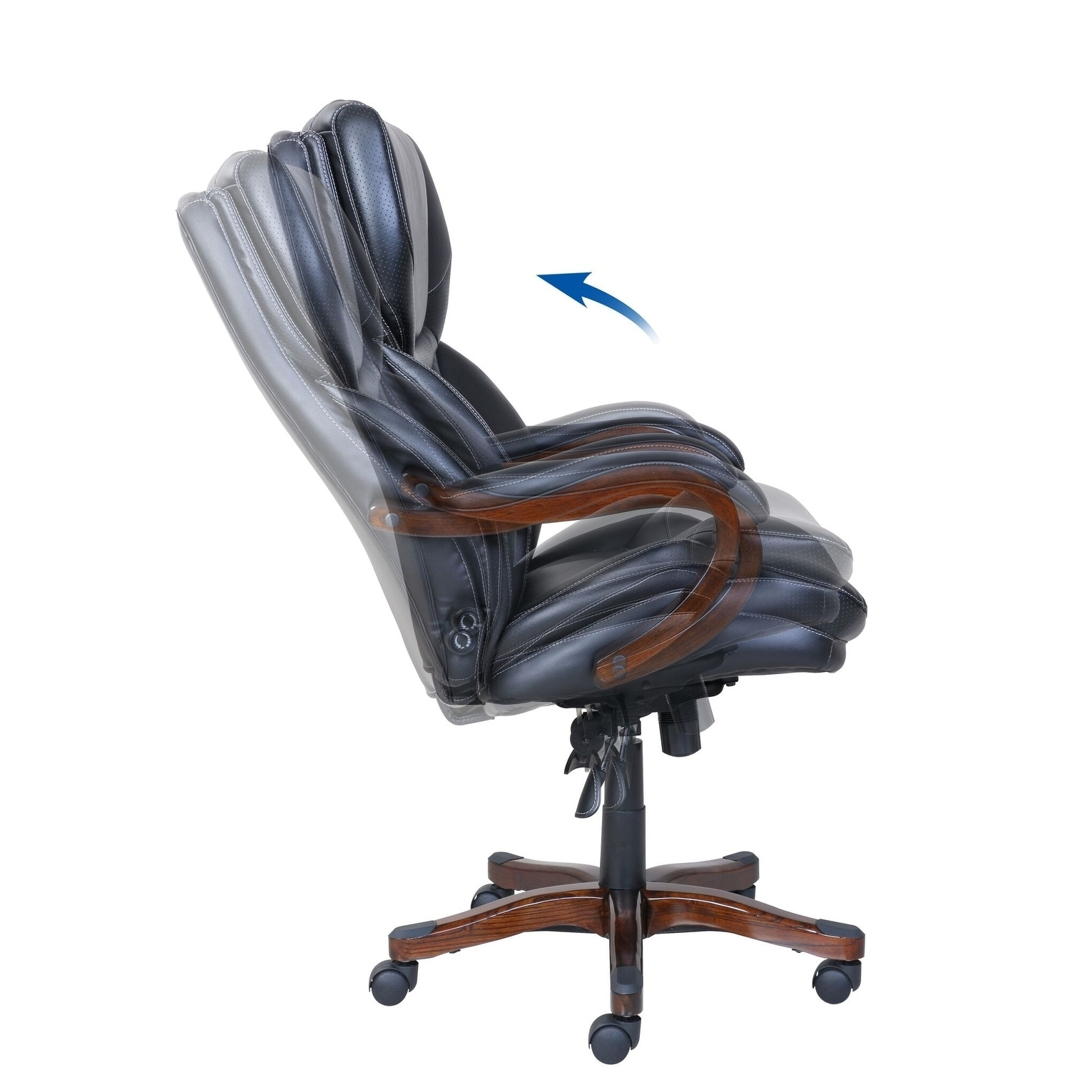 Shop Serta Executive Office Chair In Black Bonded Leather Free