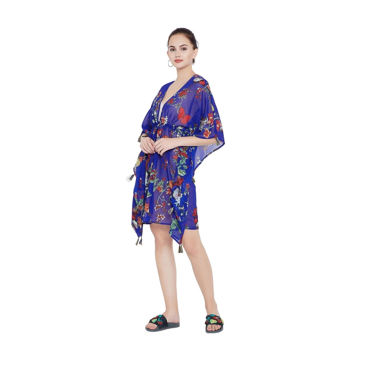 ea9f0bbdfc Shop Royal Blue Tassel Tie-Up Women Beach Dresses Swimsuit Bikini Cover Ups  - Free Shipping Today - Overstock - 23059355