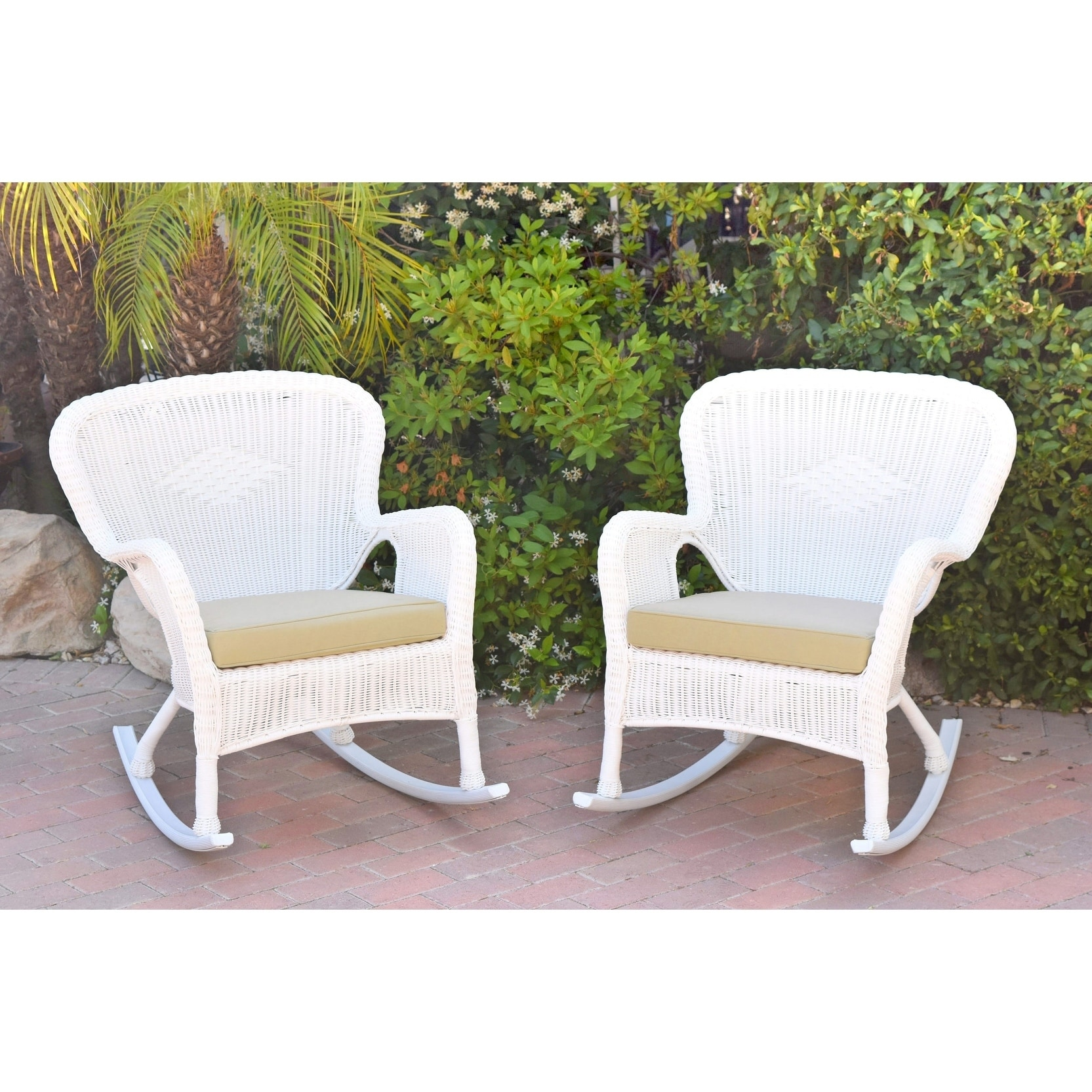Set Of 2 Windsor White Resin Wicker Rocker Chair With Ivory Cushions