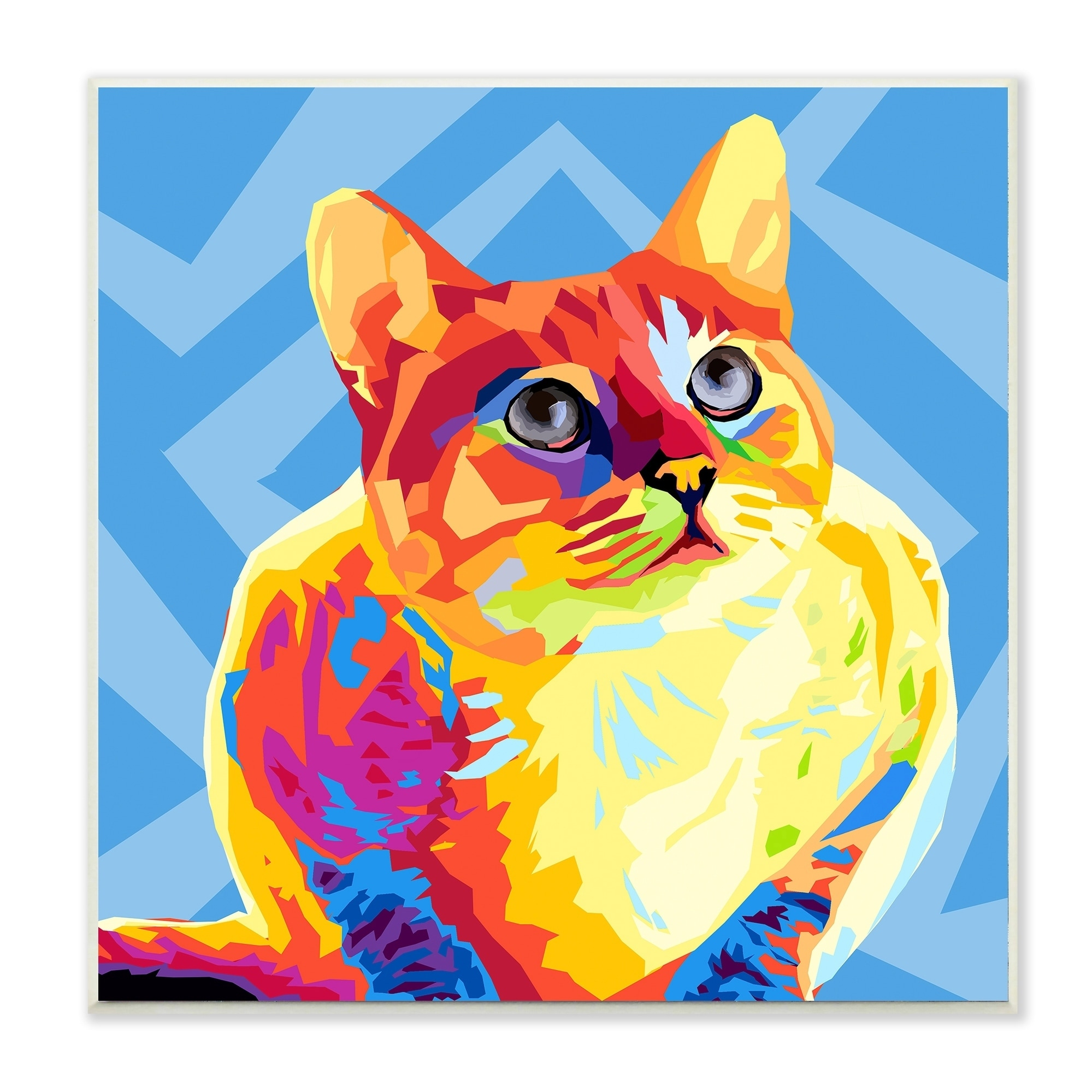 Shop The Stupell Home Décor Collection Rainbow Cat with Blue Pattern ...